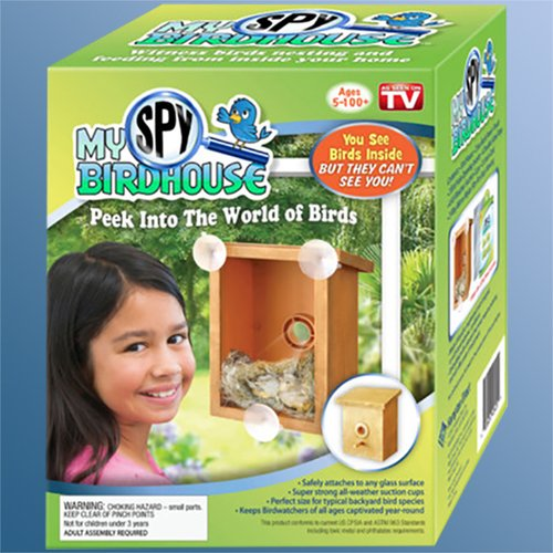 My spy birdhouse - For an amazing close up view of birds nesting and if you're lucky you'll see baby birds hatching! Tip: do not put this on a play room window or somewhere you are going to be loud in - birds won't come unless they feel safe. (We did this)