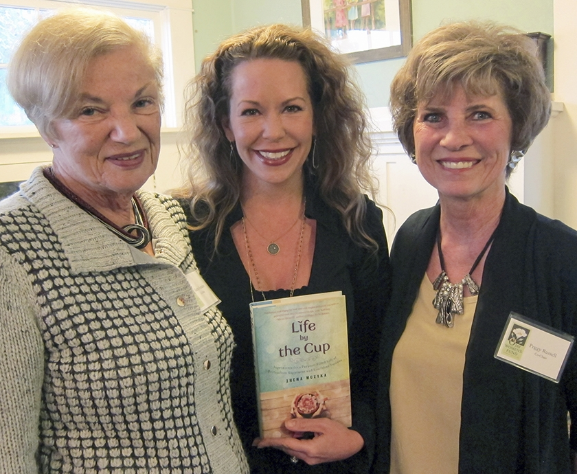 Zhena Muzyka, of  Zhena's Gypsy Tea , center, flanked by Karen Evenden, left, founder of Ojai Women's Fund and Peggy Russell,OWFBoard Member.