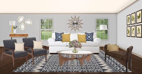 Here's a look at one of my latest edesigns. I LOVE how this turned out! Modern Farmhouse living room with blue and yellow accents. Do you have a room you need some design help with? I'd love to help, click the link in my profile for more info! . . . . #edesign #jessicaharrisinteriors #livingroom #modernfarmhouse #midcenturymodern #farmhousestyle #homestyling #homedecor #homeinspo #home #interiordesign #interiordesigner #interiorstyle #instadesign #interiorforyou #beautiful #interior123 #interiorandhome #target #wayfair
