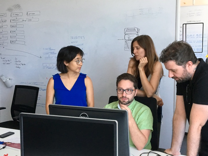 Our design team collaborating with marketing.