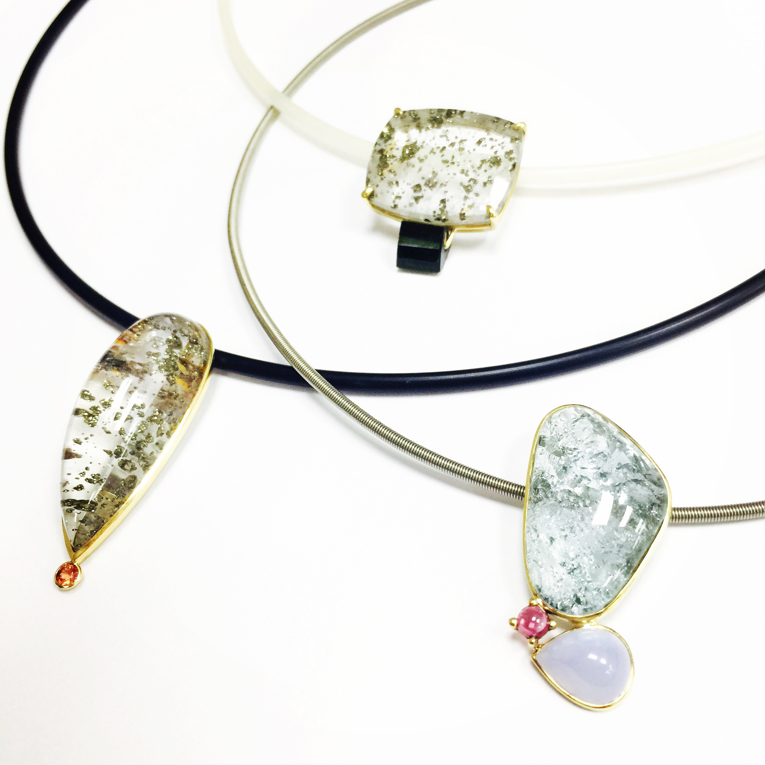 COOLING PENDANTS:Pendant of Natural Phantom Quartz with Gold Iron Pyrite AND PADPARADSCHA SAPPHIRE/ pendant of BLUE TOPAZ, CHALCEDONY AND RUBY/Pendant of Natural Phantom Quartz with Iron Pyrite WITH TOURMALINE