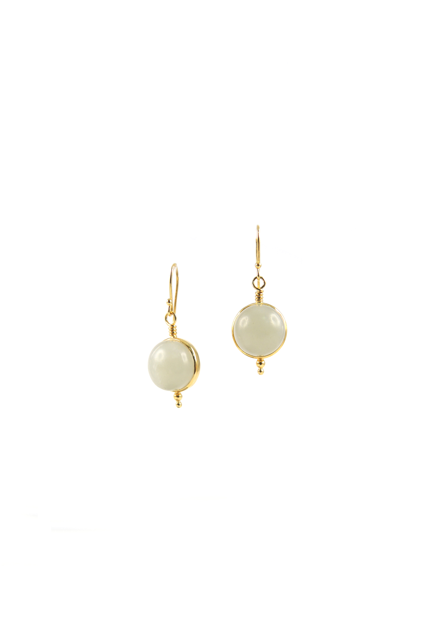 Vintage Mutton Fat Nephrite Antique Buttons are wrapped in 18k, dropped from delicate hook earrings.