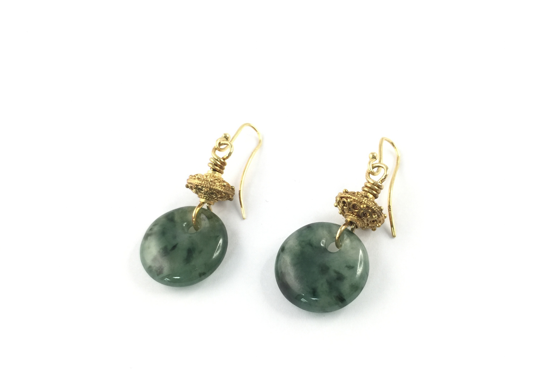 earring pendants of dragonwell jadeite and intricate handcrafted bead in 18k.
