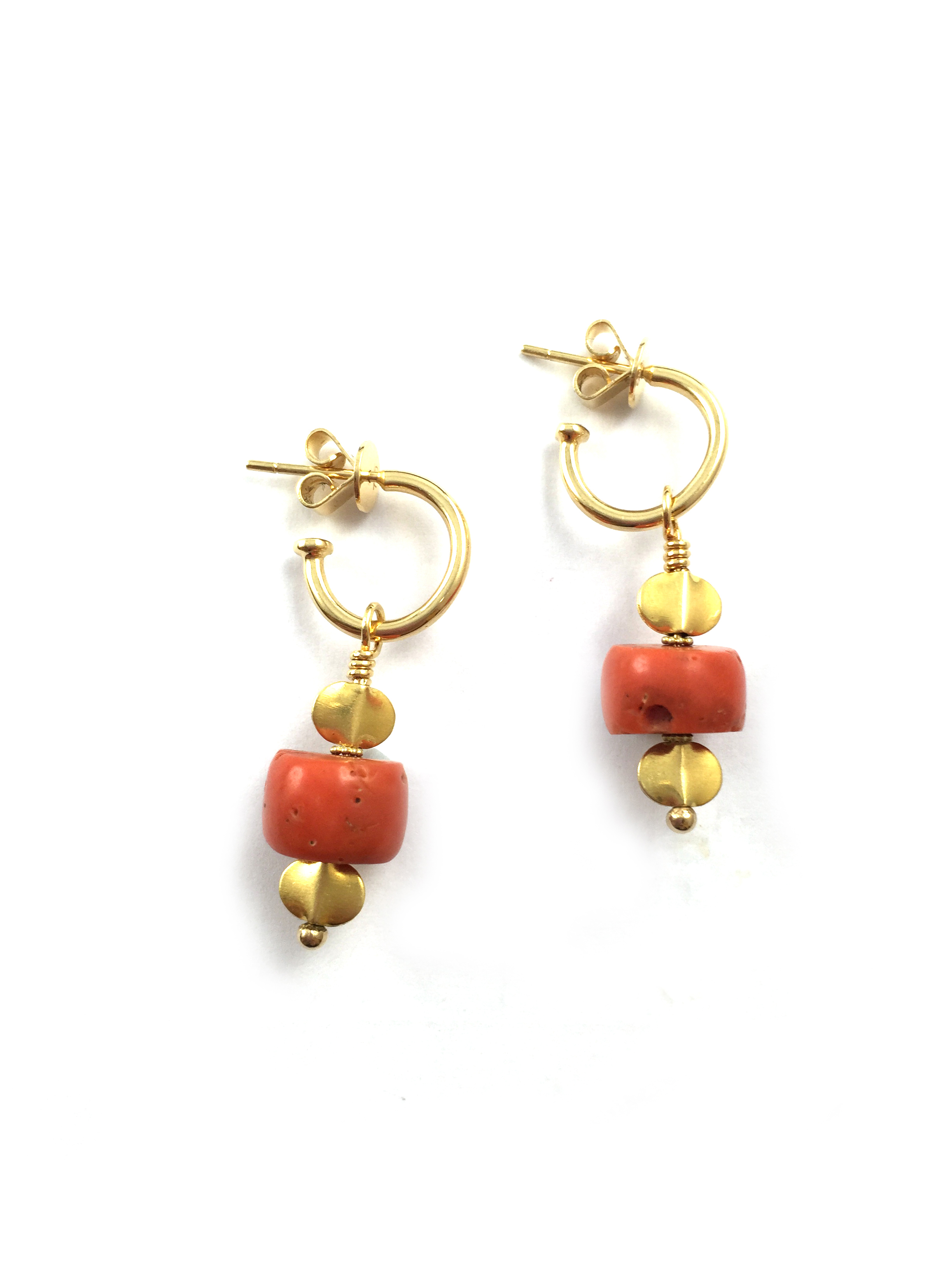 Vintage Coral and indian gold drops from 18k hoops