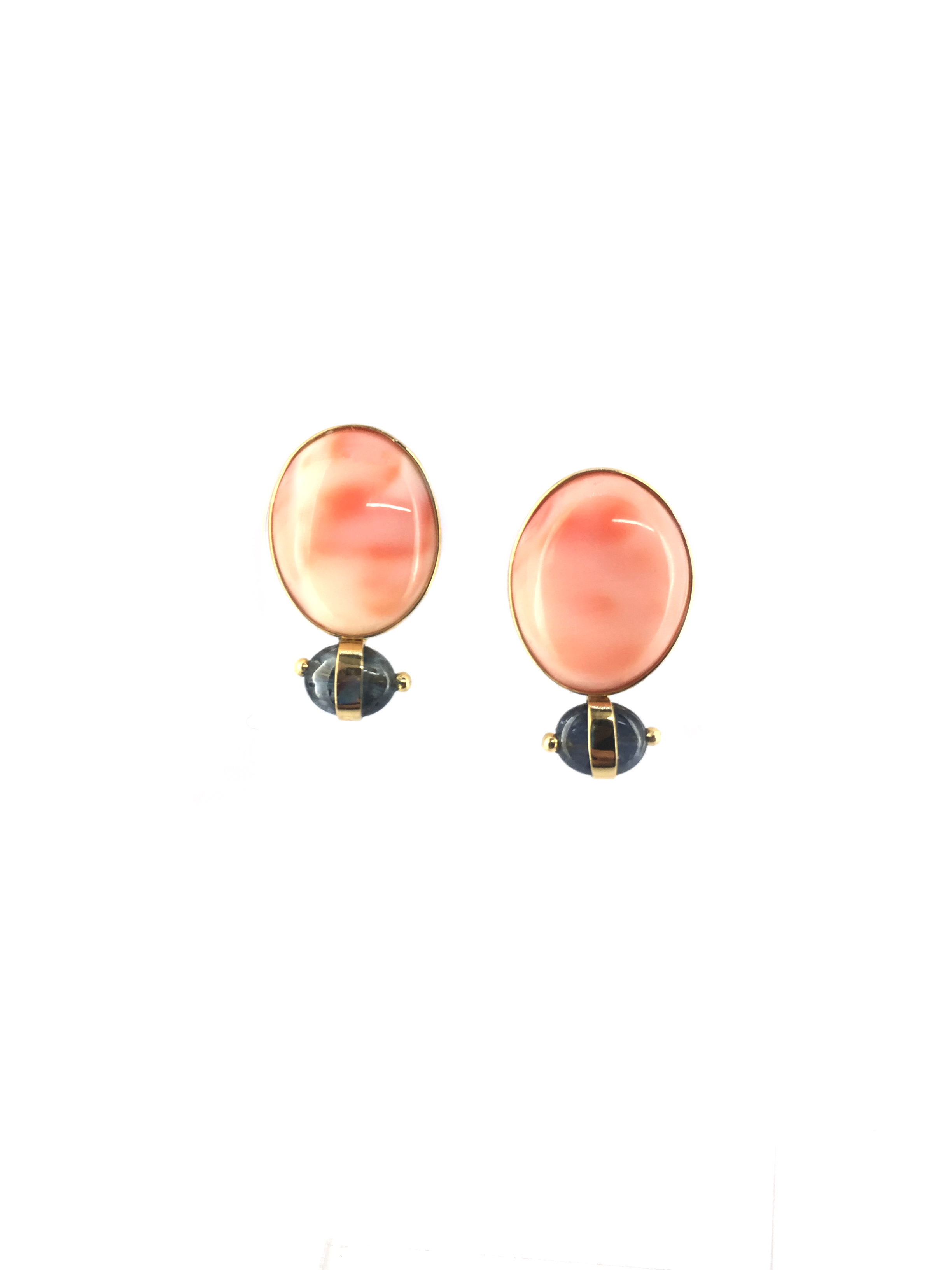 Post earring of Vintage Angel Skin coral with sapphire in 18K
