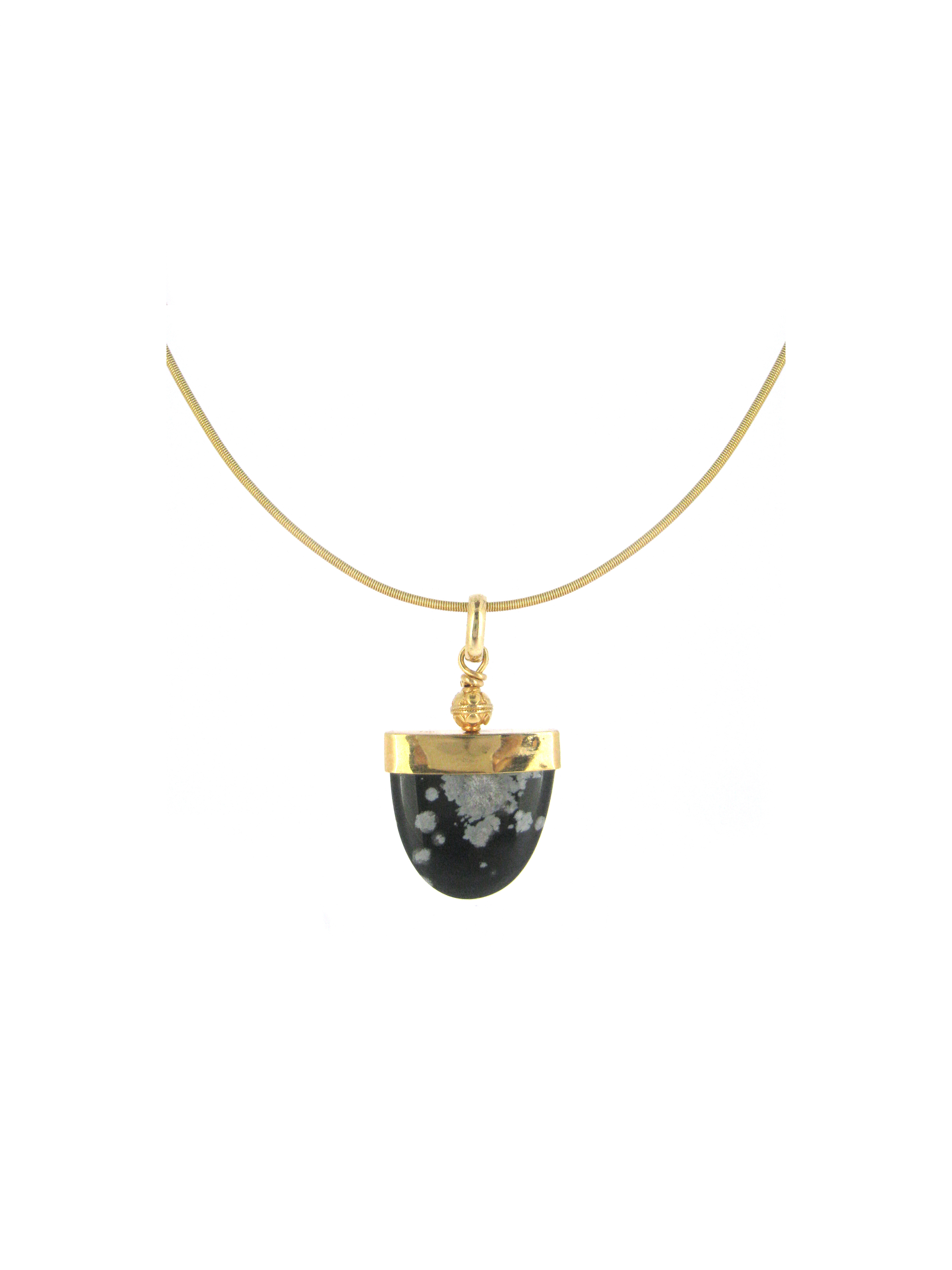 Snowflake obsidian Pendant is wrapped in 22K Gold and highlighted with handcrafted Indian Bead and finished in 18K