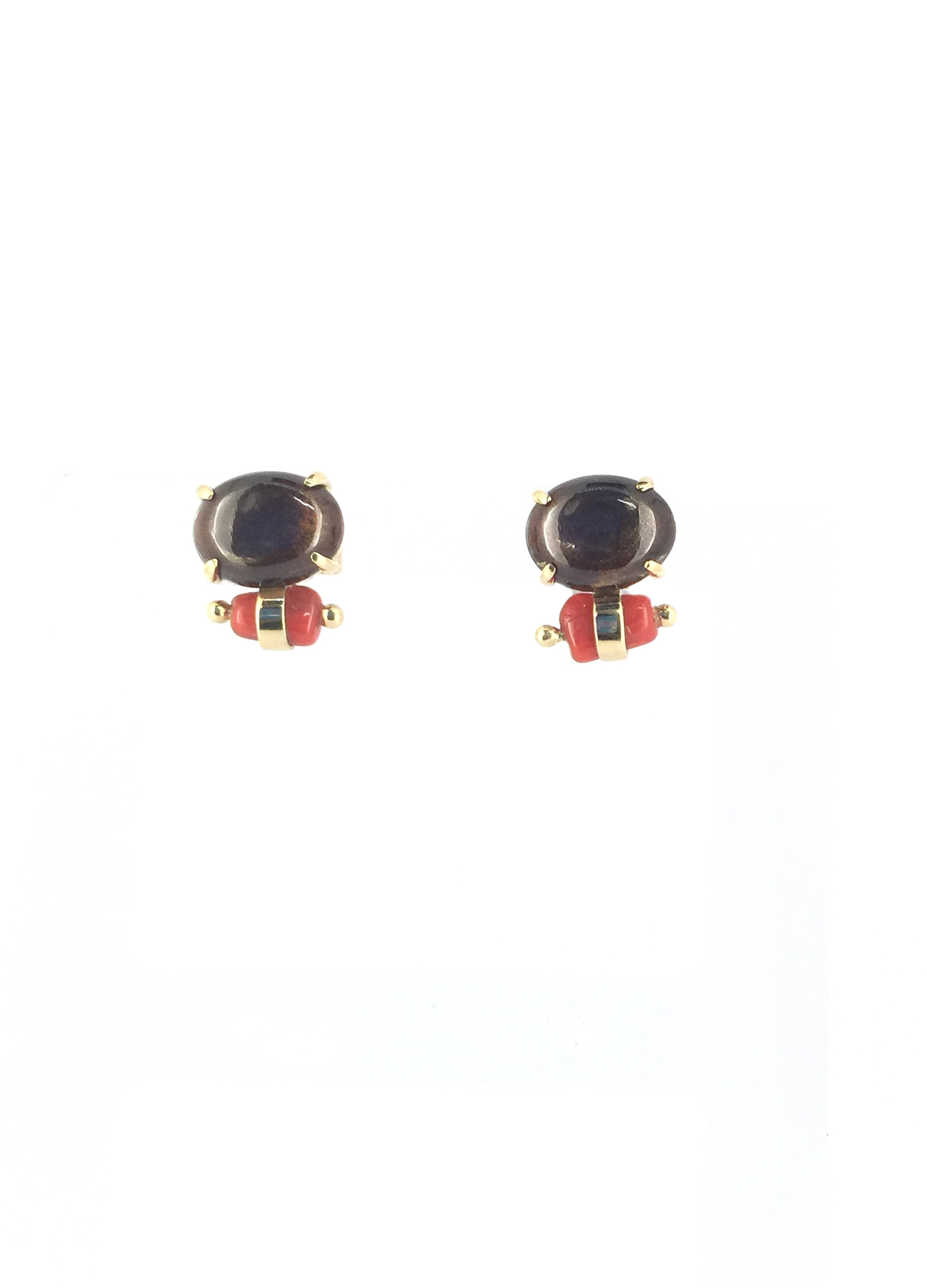 tourmaline with little coral nugget post earring in 18k