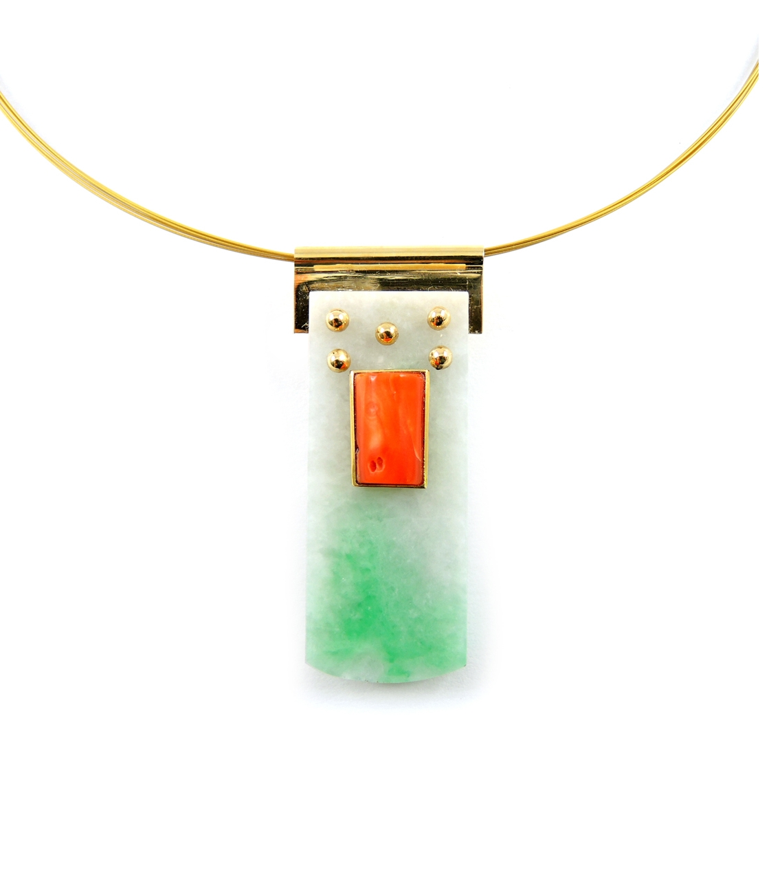 Slide pendant of Moss and Snow jadeite & vintage coral in 18K