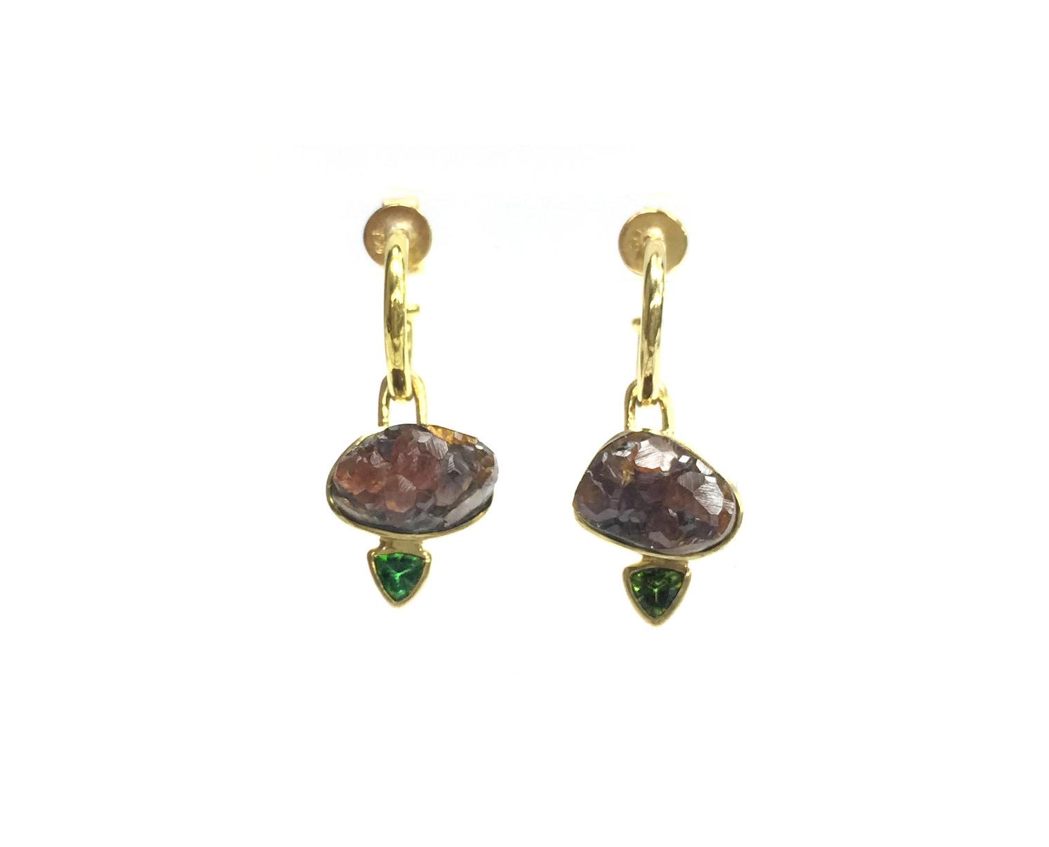 earring drops of druzy garnet with tsavorite garnet on 18k hoops
