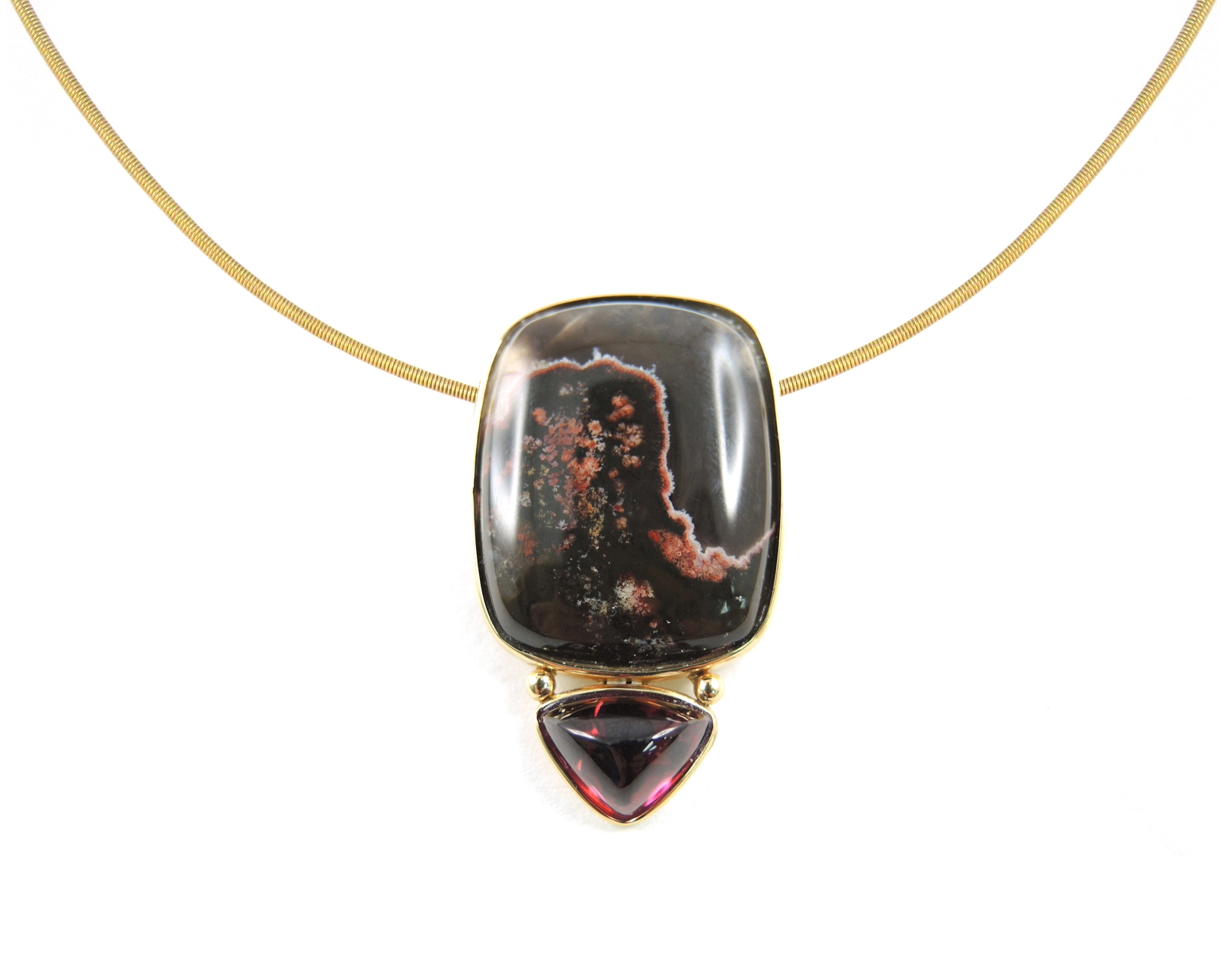 Picture Agate of a landscape at sunset with pyramidal shaped raspberry tourmaline. boldly elegant.