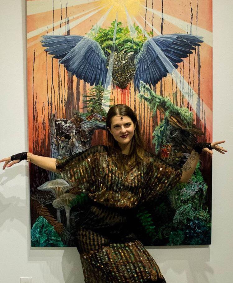 MICHELLE ANDERST - Seattle-based painter Michelle Anderst approaches her craft with a persistent desire to pierce the veils of perception and draw attention to the natural world that is quickly disappearing. She illuminates insect and plant microcosms which are commonly overlooked by humans, illustrating their intricate symbiotic relationships. The extraterrestrial quality of insets, fungi, gemstones and plant-life are conjured with geometry and symbols from ancient esoteric belief systems to create ritual paintings containing surreal worlds which illuminate the inter-connectivity and design behind all living creatures. Michelle has shown art work extensively in Seattle galleries and live-painted as a featured artist at many festivals including Lightning in A Bottle, Cascadia, Imagine, Sonic Bloom and Lucidity.