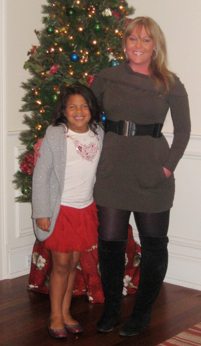 I remember how much it hurt to put those tights on that night. It took me like 30 minutes just to put those on. But I was determined to look good for Christmas.