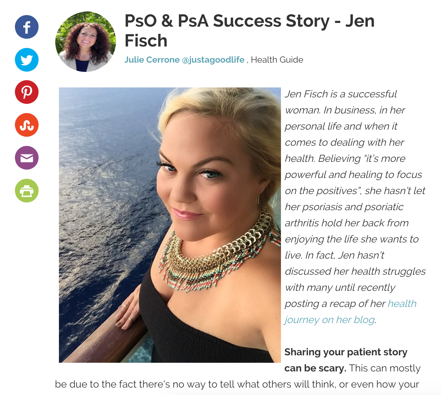 HEALTH CENTRAL INTERVIEW PSORIASIS AND PSORIATIC ARTHRITIS SUCCESS STORY BY JULIE CERRONE