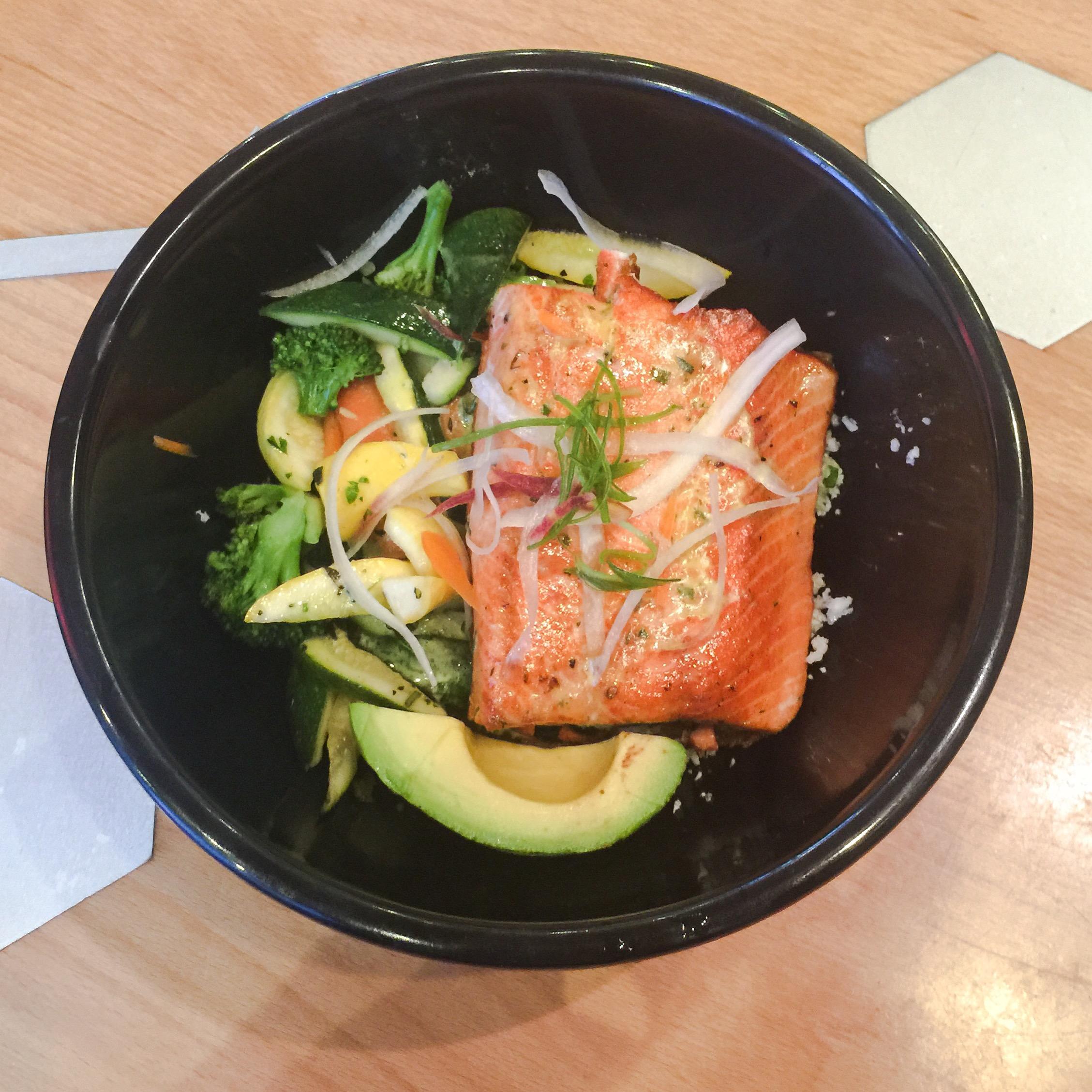 Salmon protein bowl with cauliflower rice and avocado