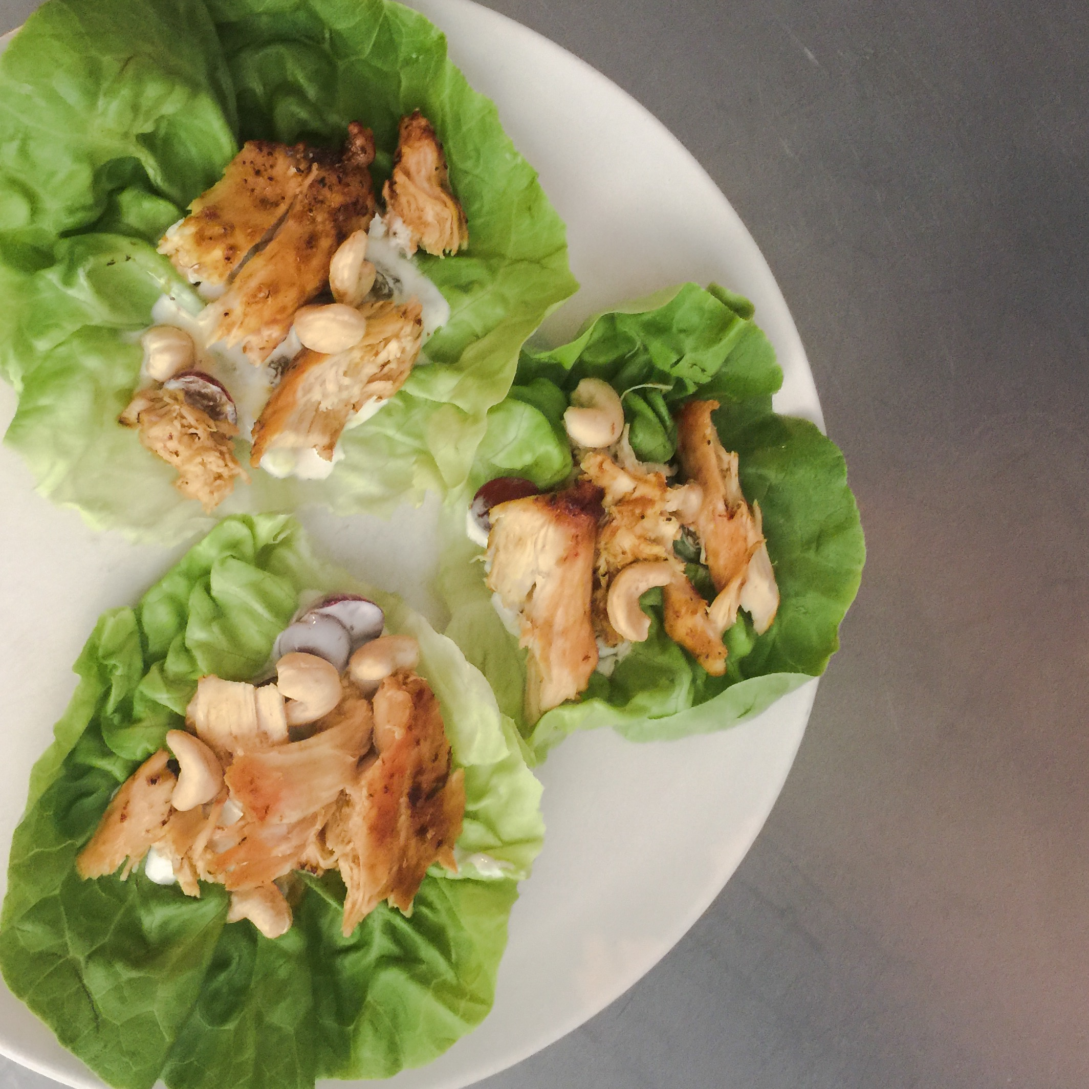 CURRIED SHRIMP AND LETTUCE CUPS WITH CELERY, CASHEWS AND SLICED GRAPES via Swirl Nation Blog