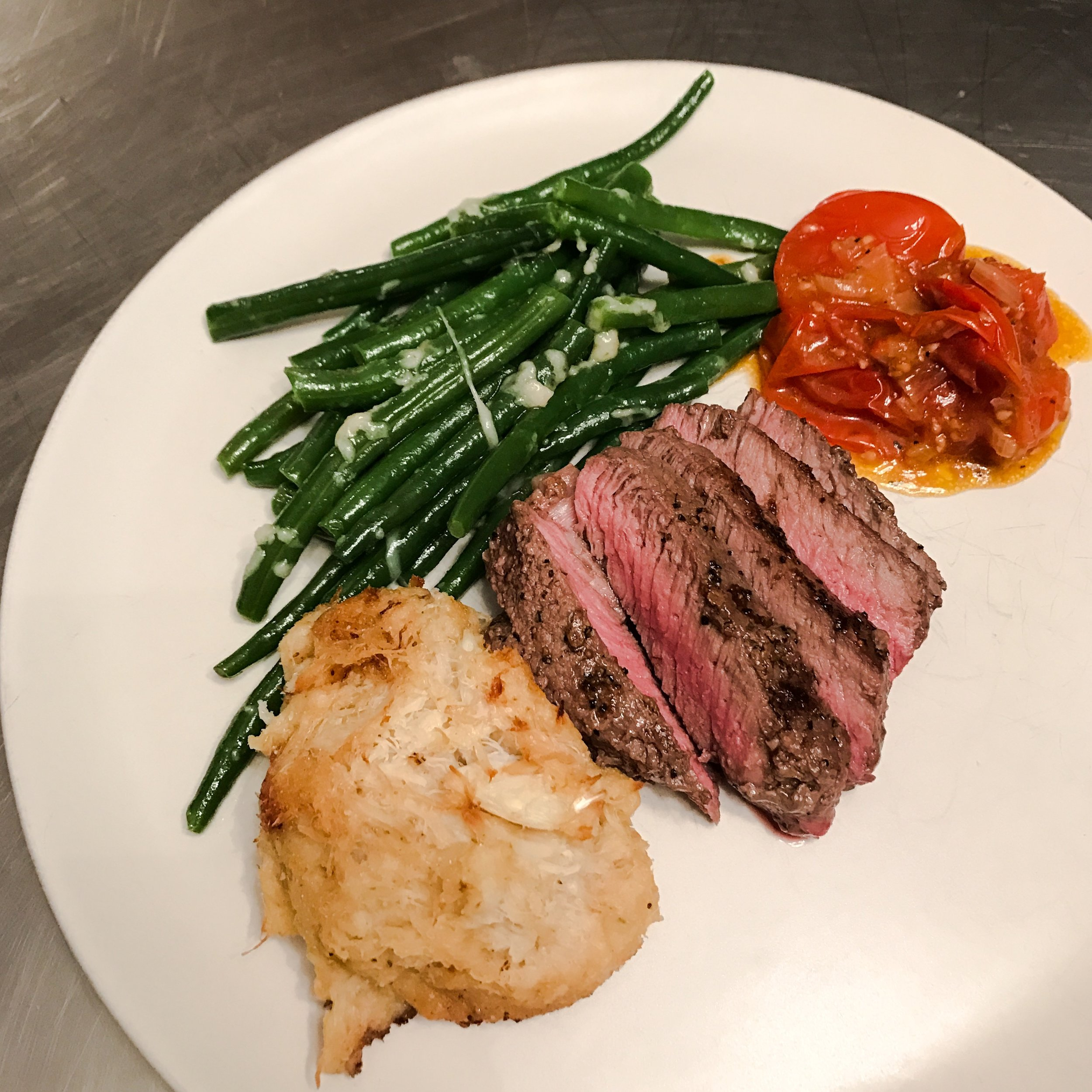 Seared Steak with Crab and Veggies by Jen Fisch via Keto In The City
