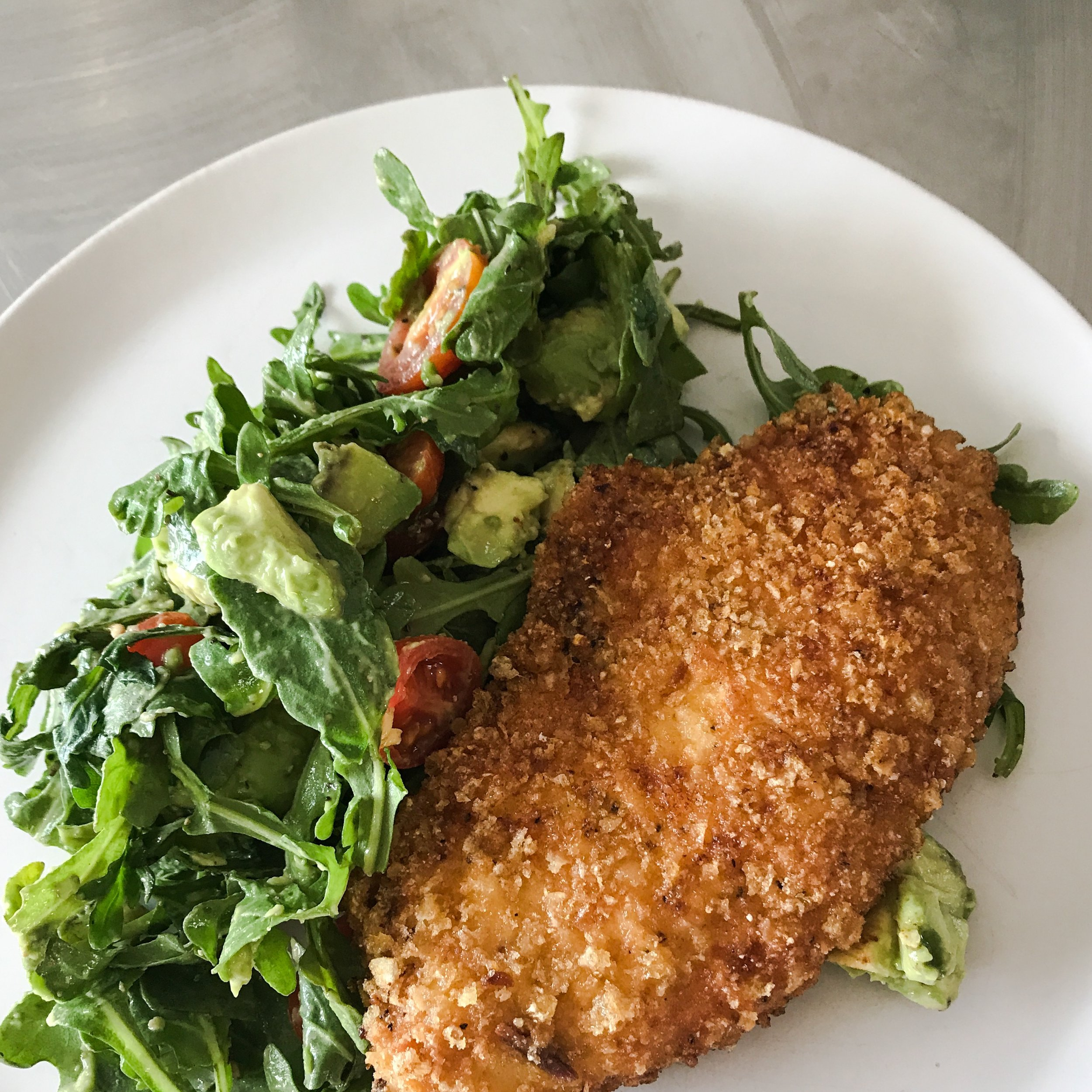 KETO RECIPE: CRUNCHY PORK RIND CHICKEN MILANESE by Jen Fisch via Keto In The City