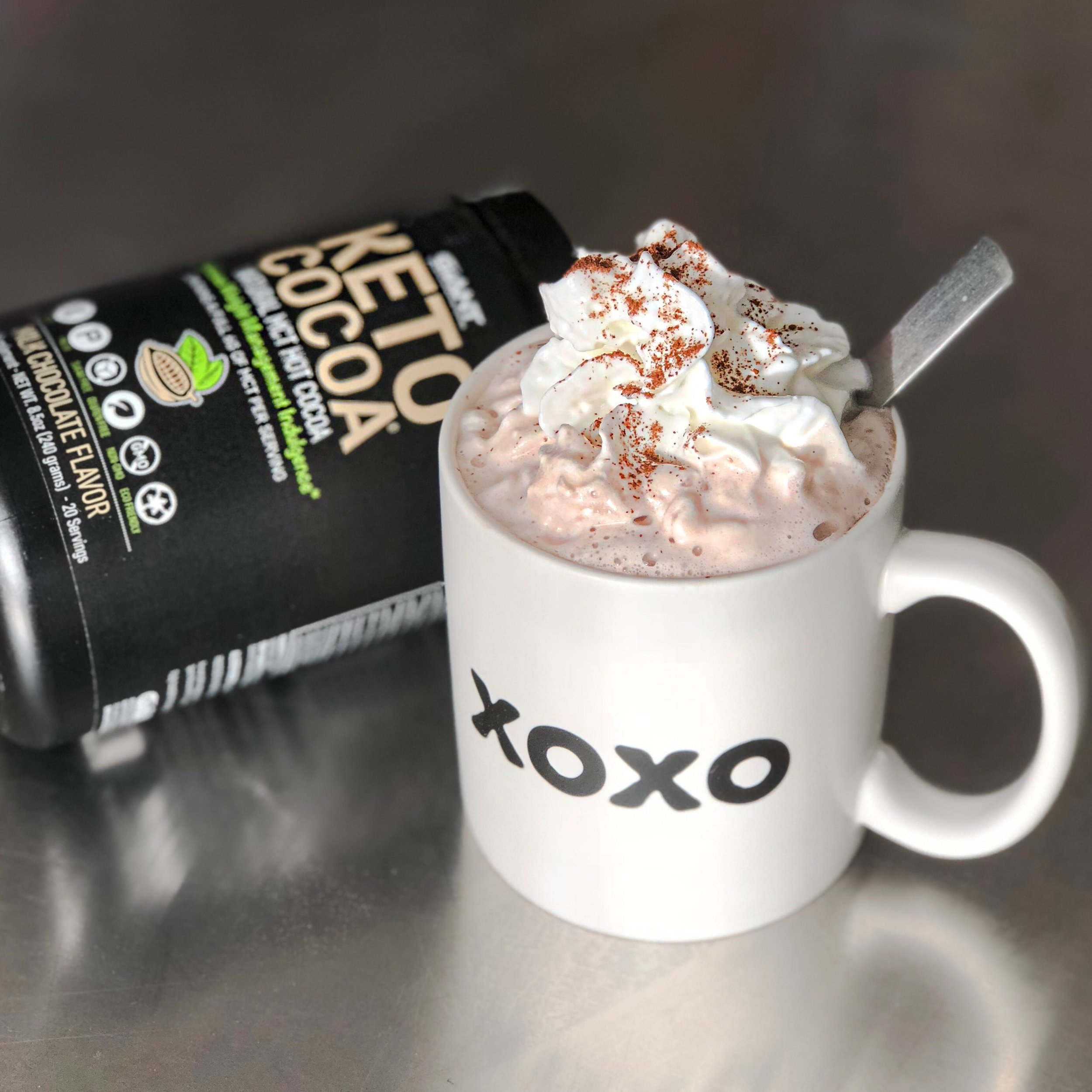Keto Cocoa topped with whipped cream and cinnamon!  Click HERE  to purchase, save 20% with code KETOCITY