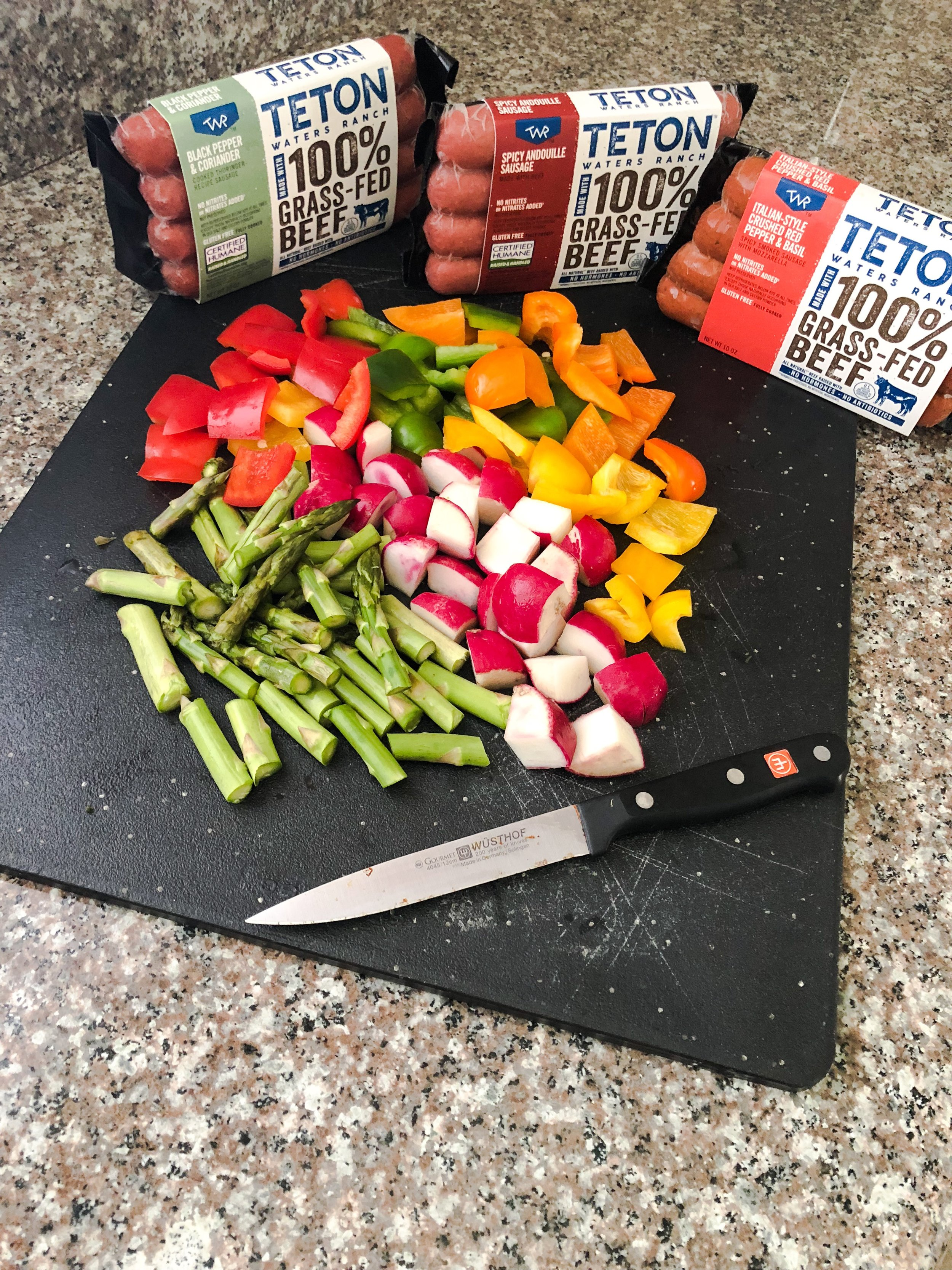 Cut up veggies bite size and choose sausage flavors