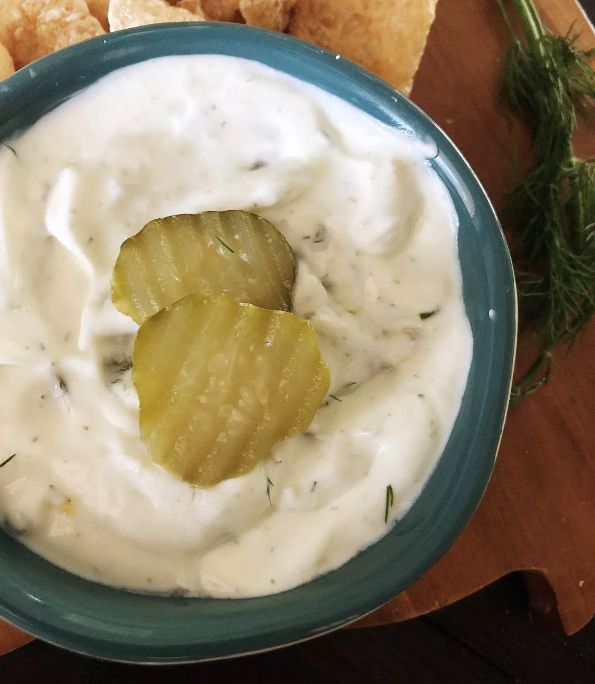 Keto Sour Cream Pickle Dip via kindketomama.com