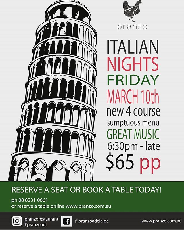 If you love awesome Italian food, If the idea of a great night night with friends accompanied with wine, music and iconic italian cinema tickles your fancy - then this event is for you!! #italianfood #italiancinema #pranzoadl #food #wine #adelaidedining