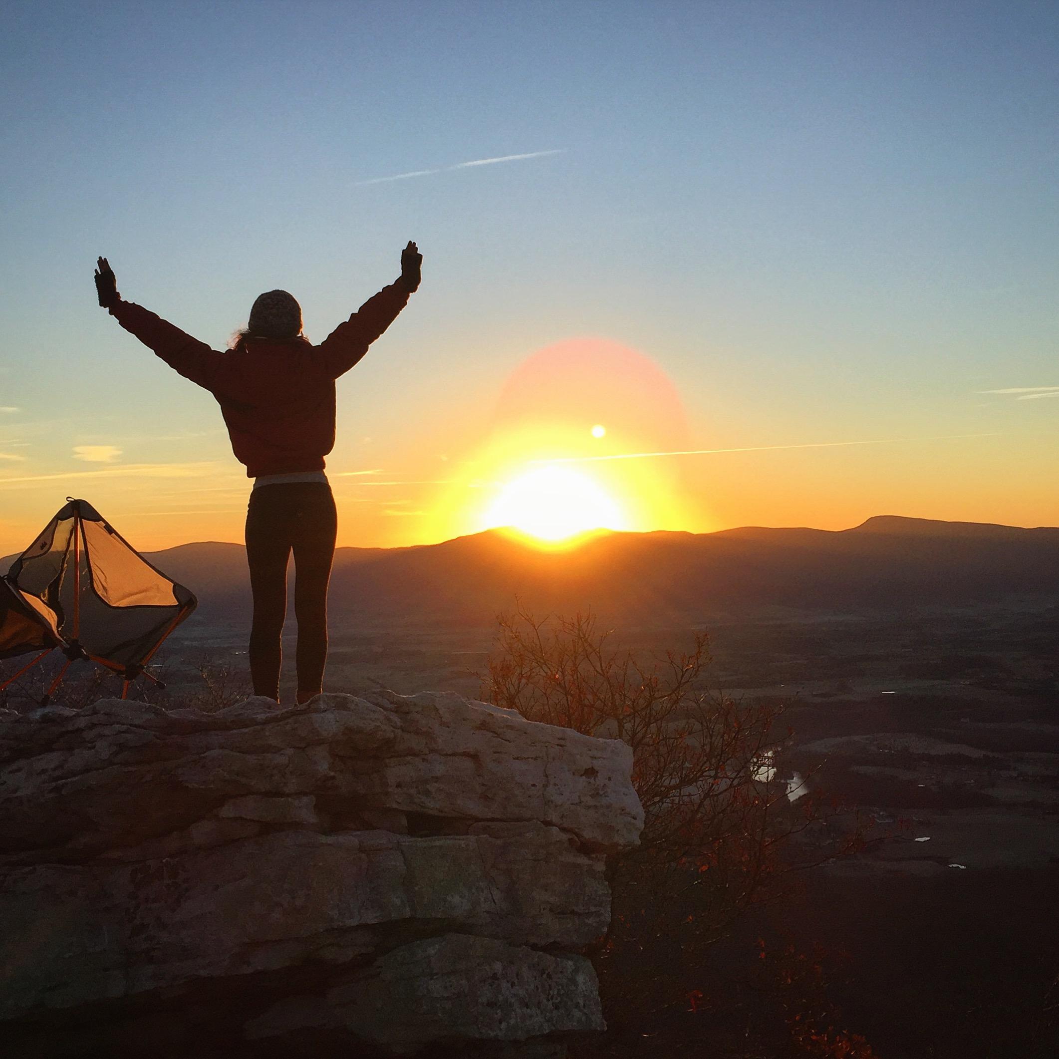 Saying hi to the best sunrise in Virginia in Strickler Knob