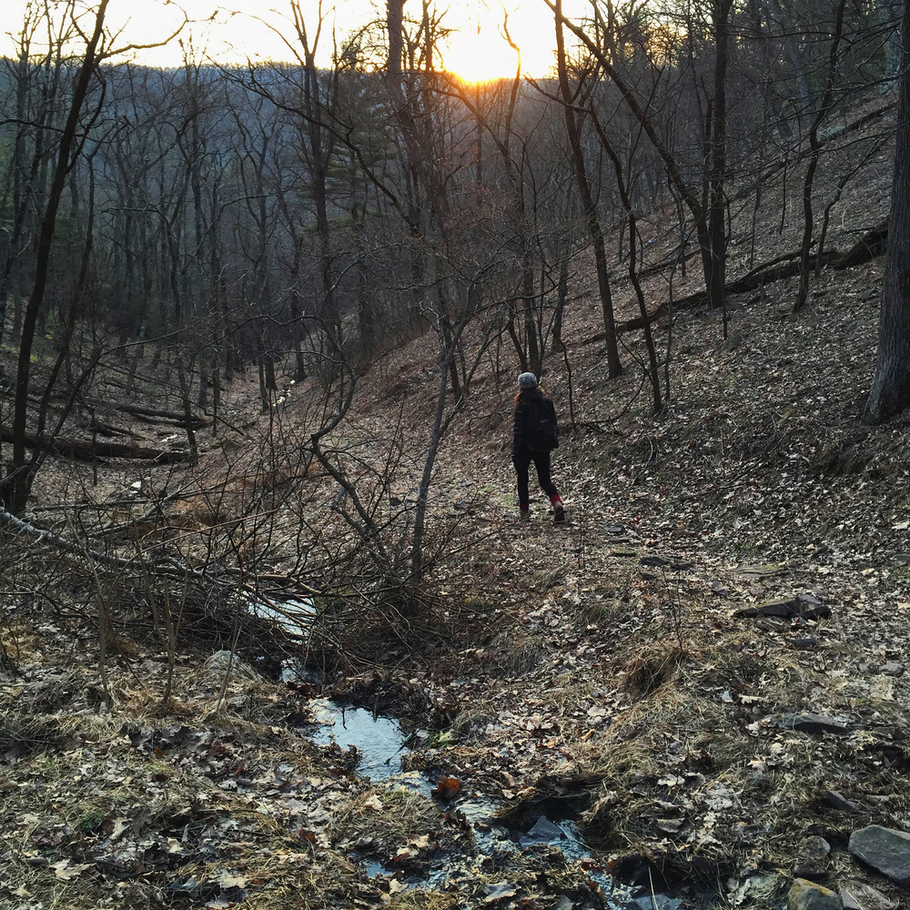 Raisa hiking in Lost River State Park