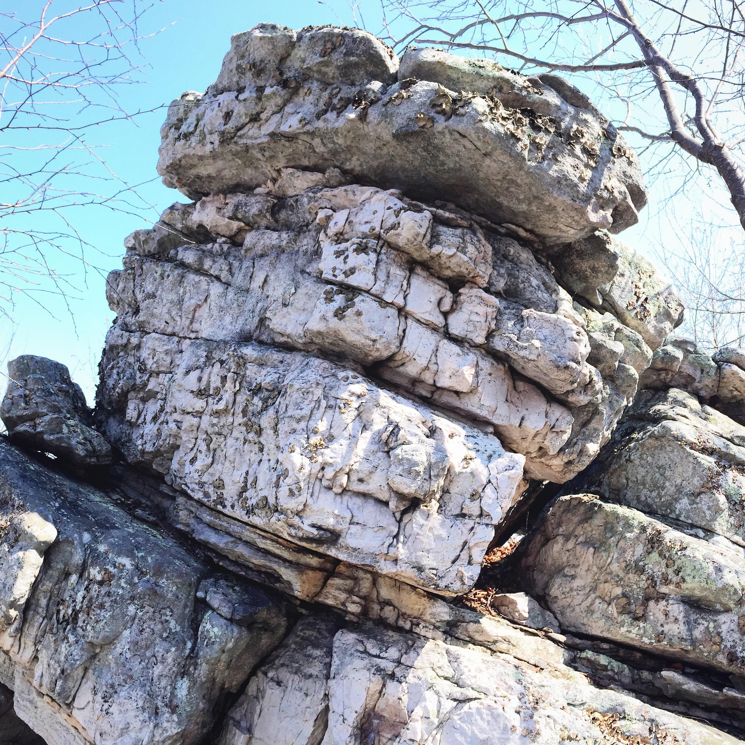Quartzite rock to be climbed