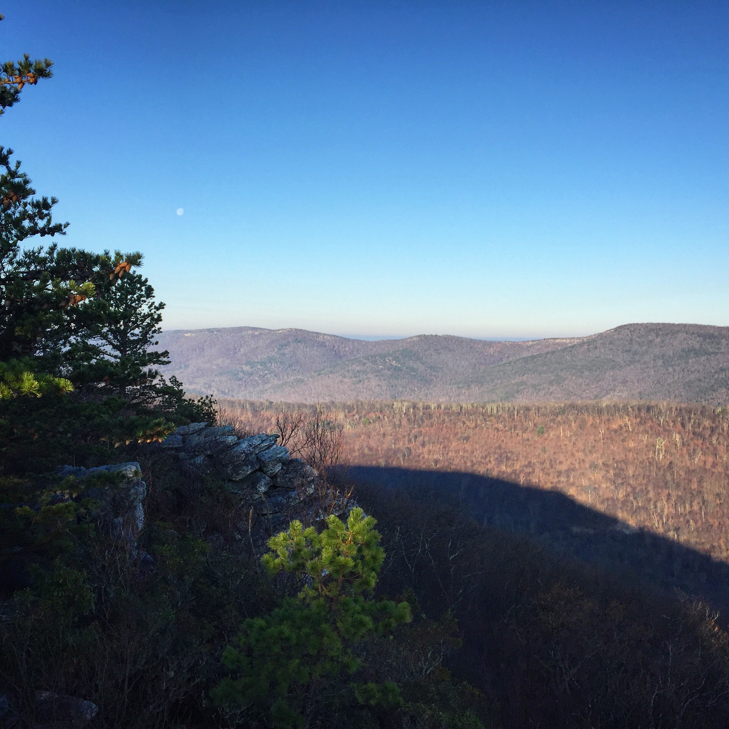 Moon over the Ridge-and-Valley Appalachians