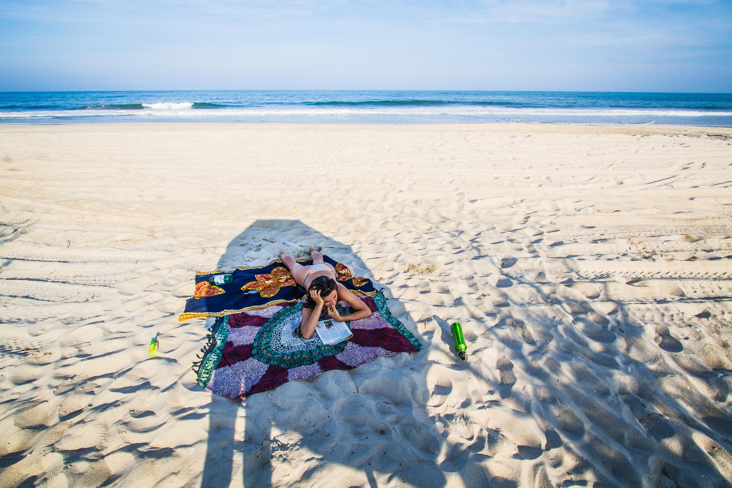 Reading at Chincoteague beach