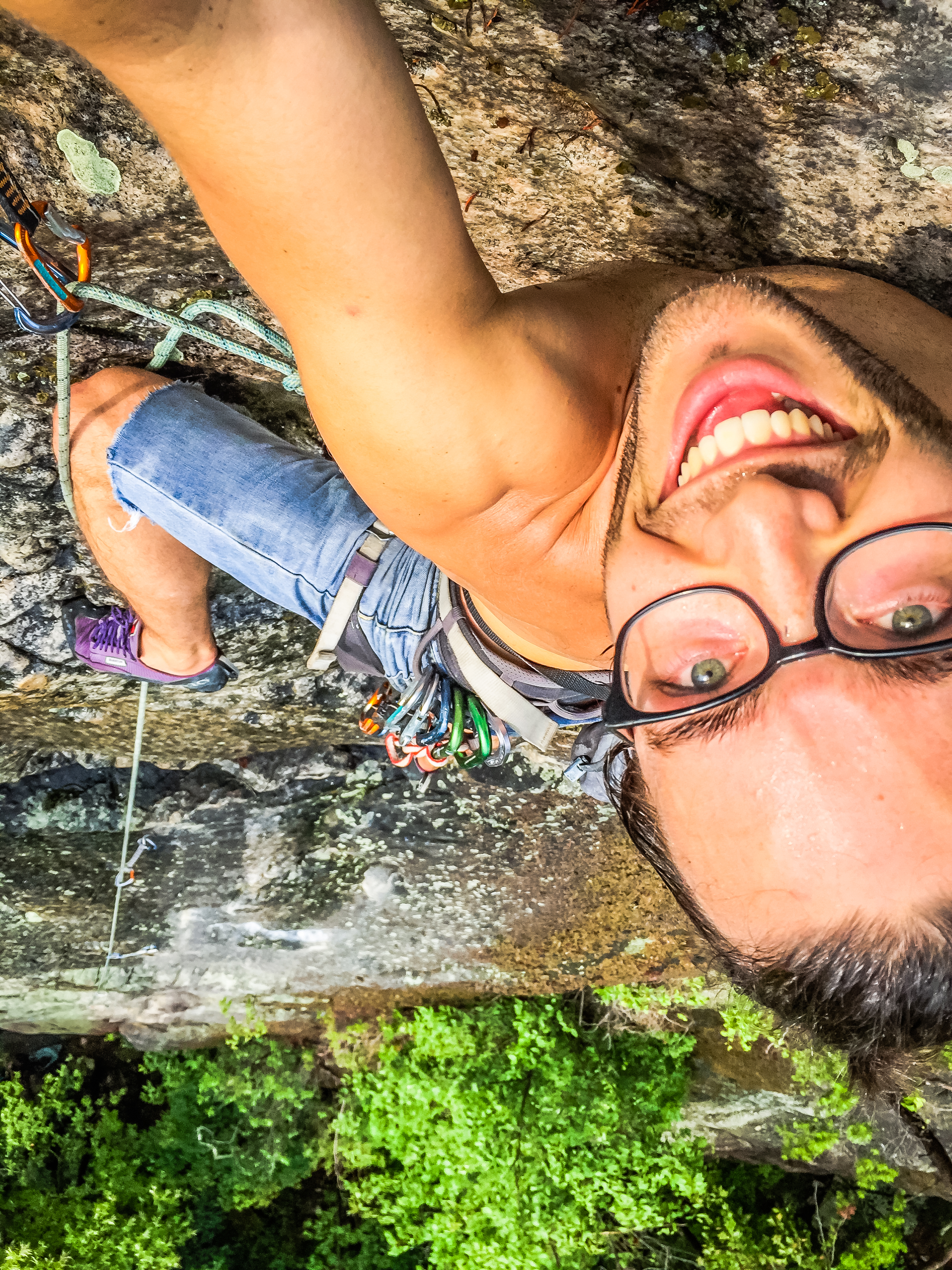 Climbing in Kaymoor Slabs, Endless Wall, New River Gorge