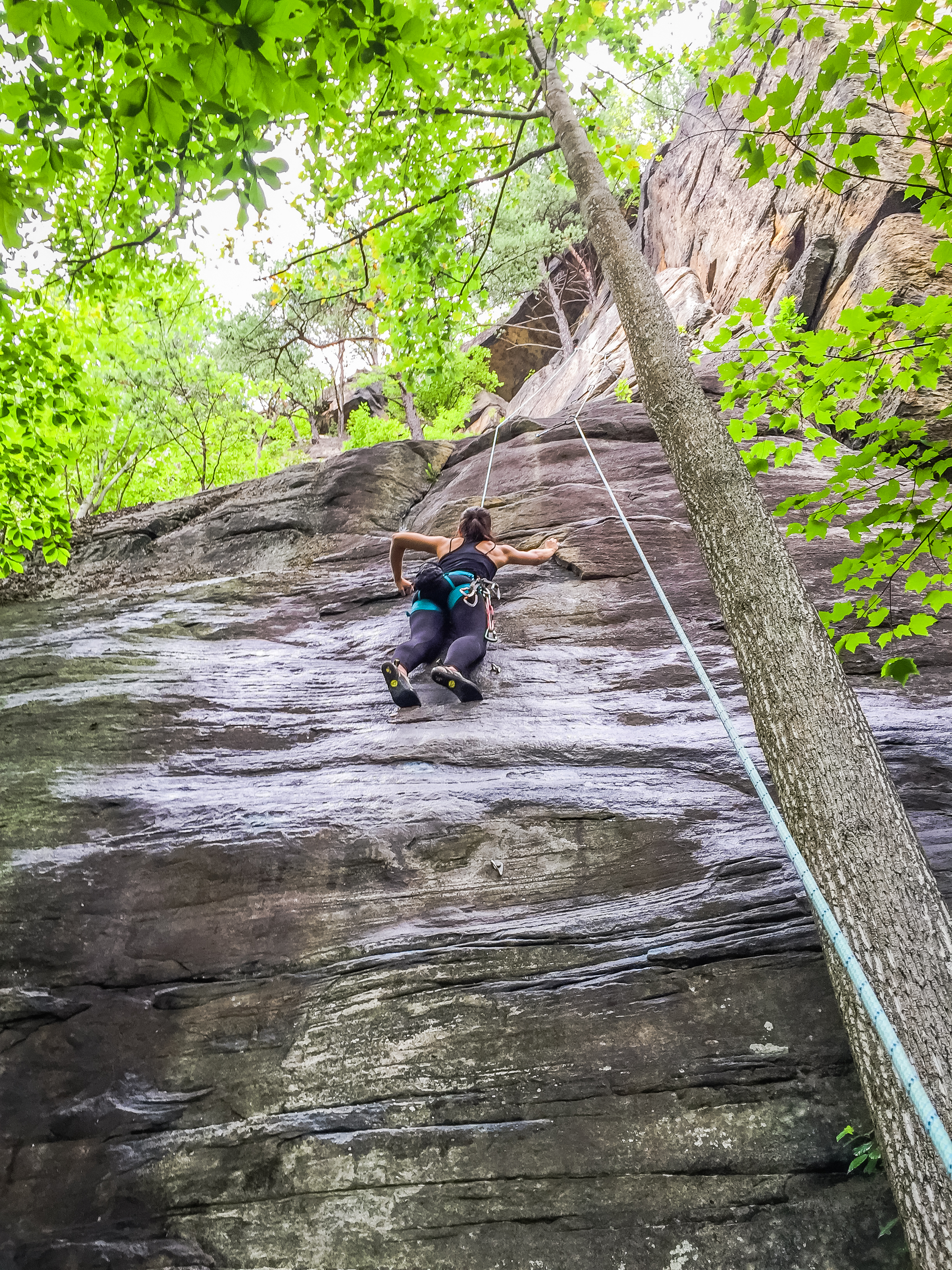 Climbing in Kaymoor Slabs, Endless Wall trail, New River Gorge