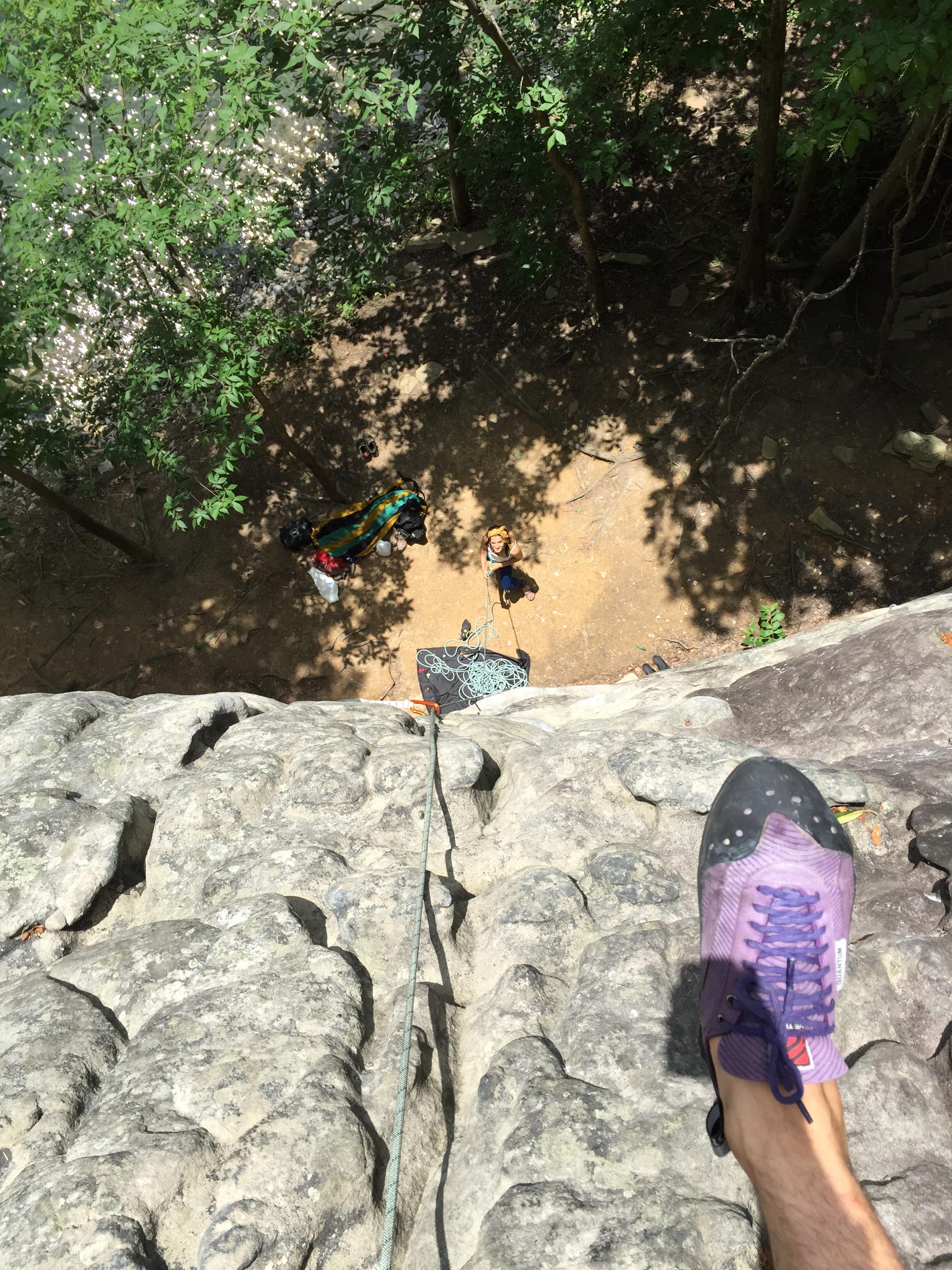 Summersville: Climbing Orange Oswald Wall