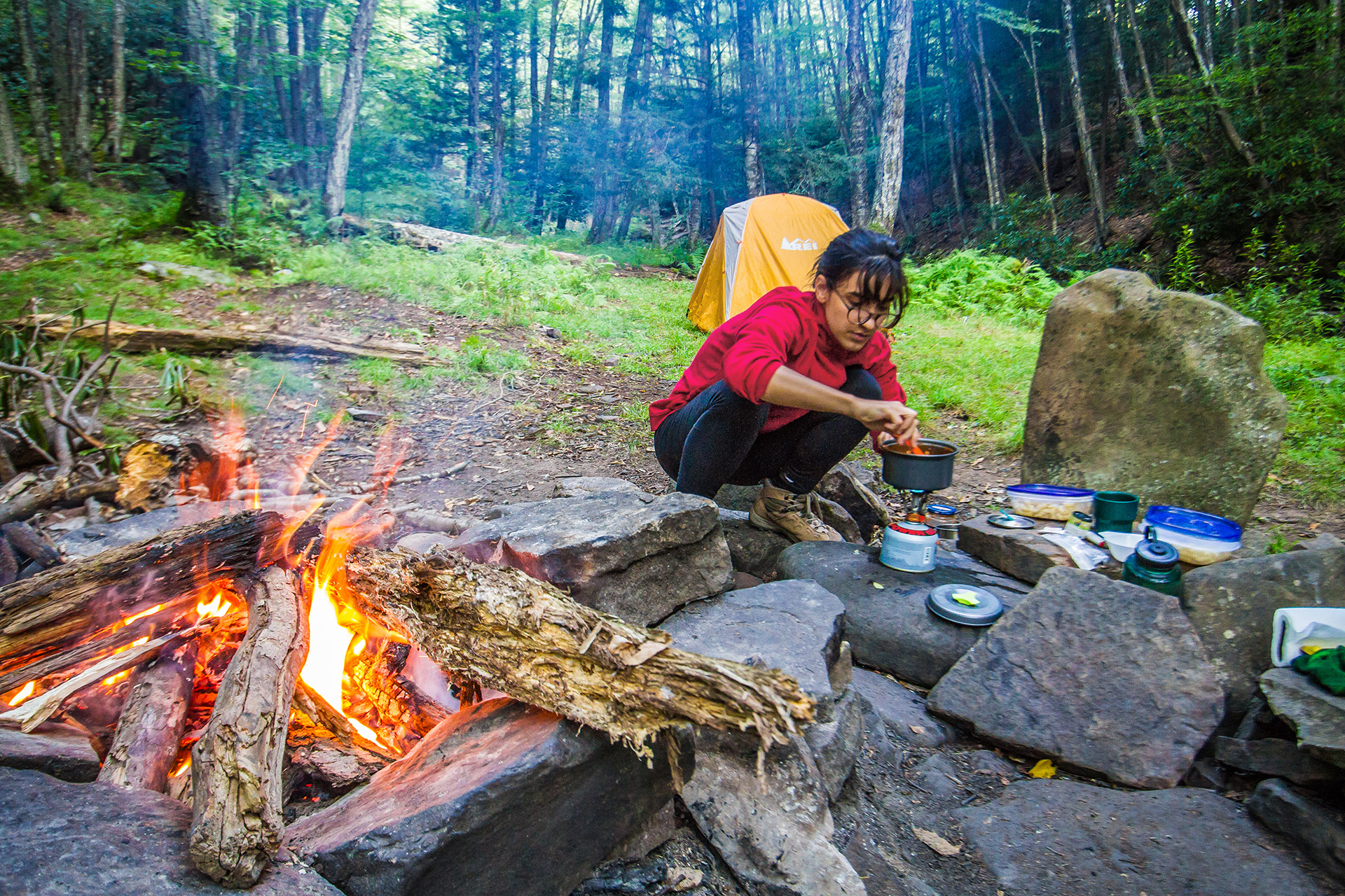 Cooking close to a fire pitch