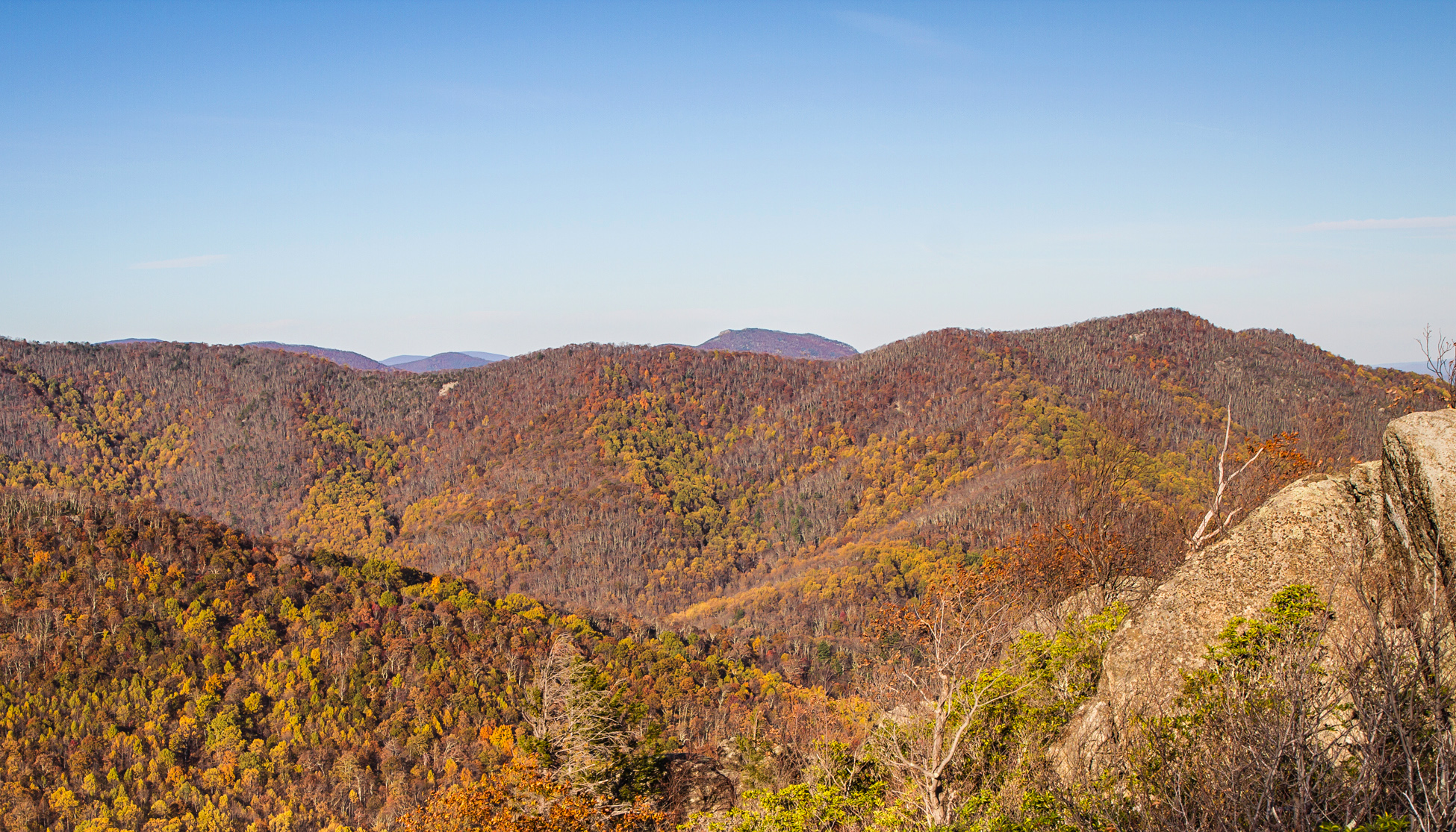 Fall colors at Bear Church Rock, Shenandoah, Virginia