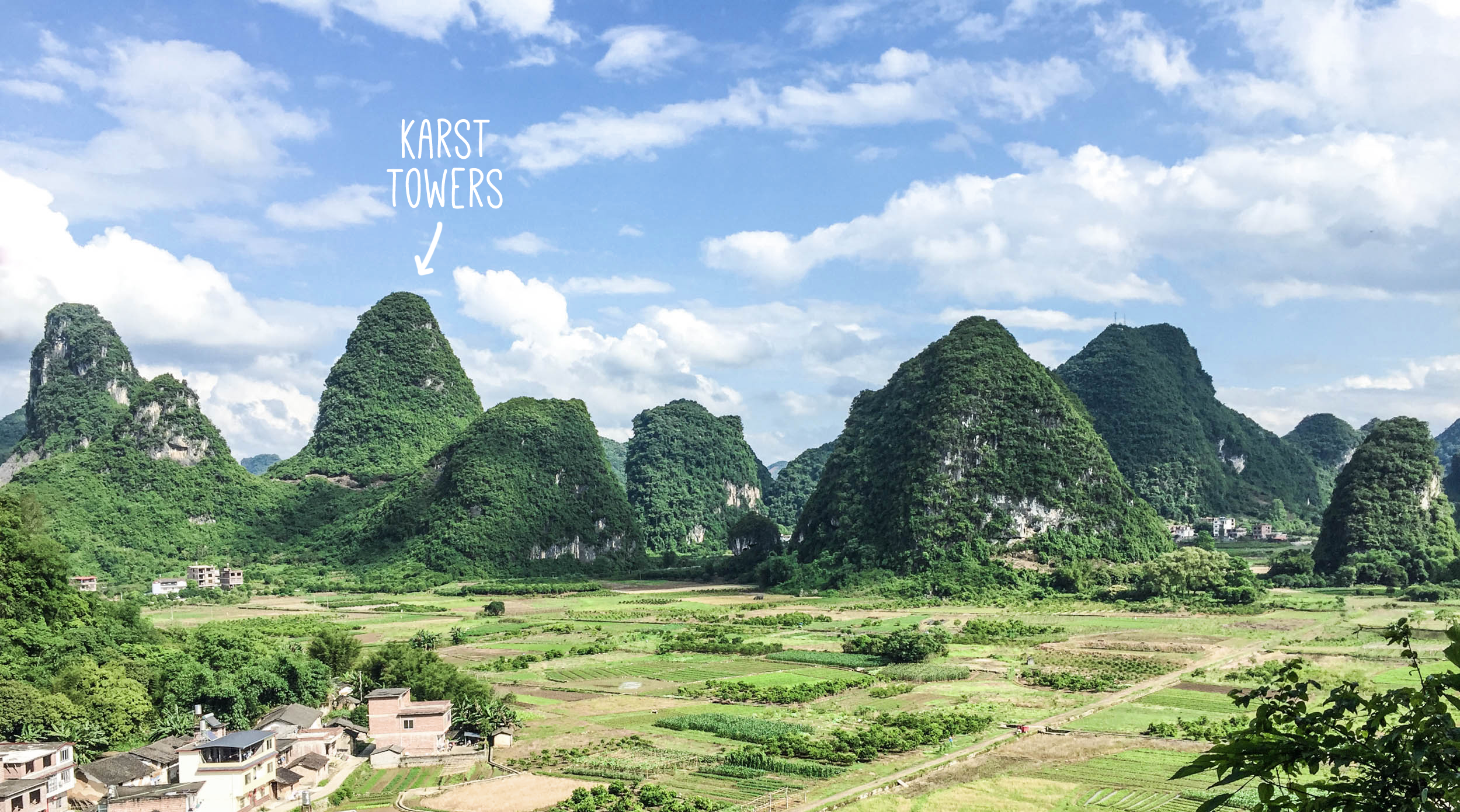 Karst towers and valley (view from Area 51 climbing crag) Yangshuo