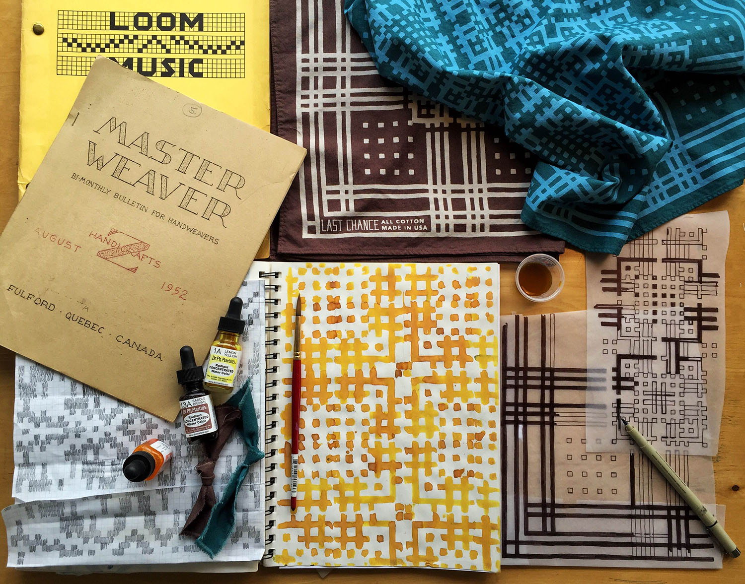 Draft-Danna print was inspired by hand drawn drafts of early American overshot weaving patterns