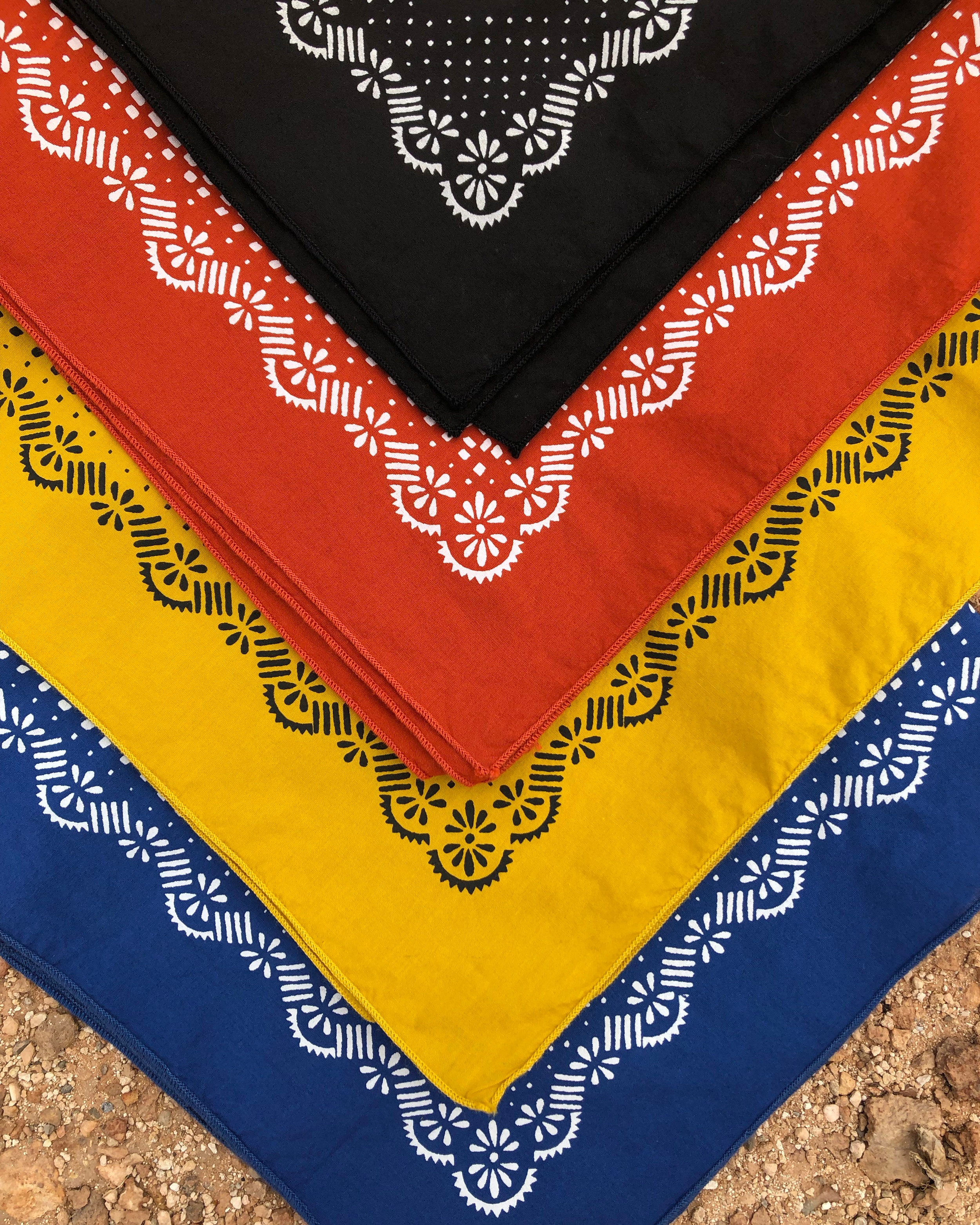 Stock colors: Black, Terracotta, Maize, and Azure