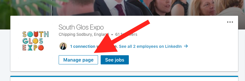 LinkedIn Manage Page button