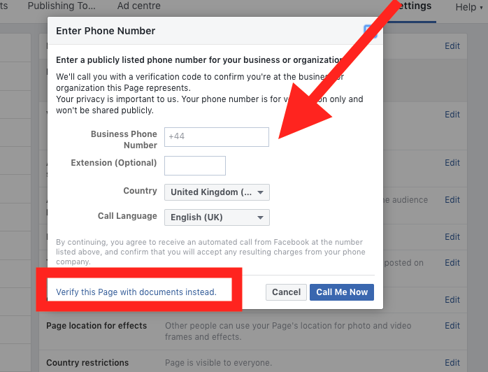 How to verify my facebook business page