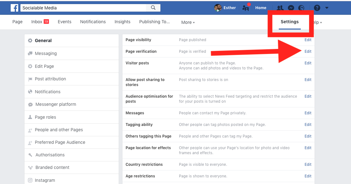 How to verify a facebook business page