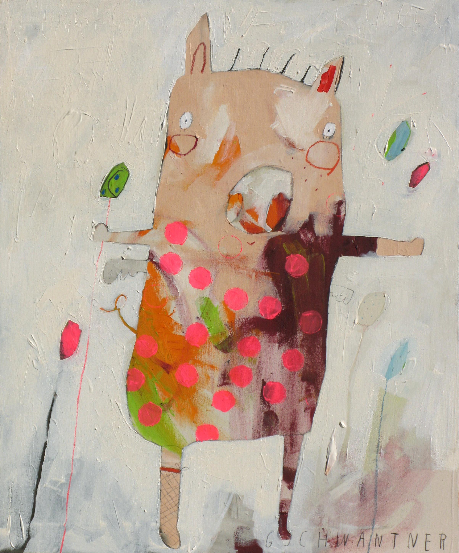 Ringelstrumpfschwein mit Punkten, 2009, 78 x 94