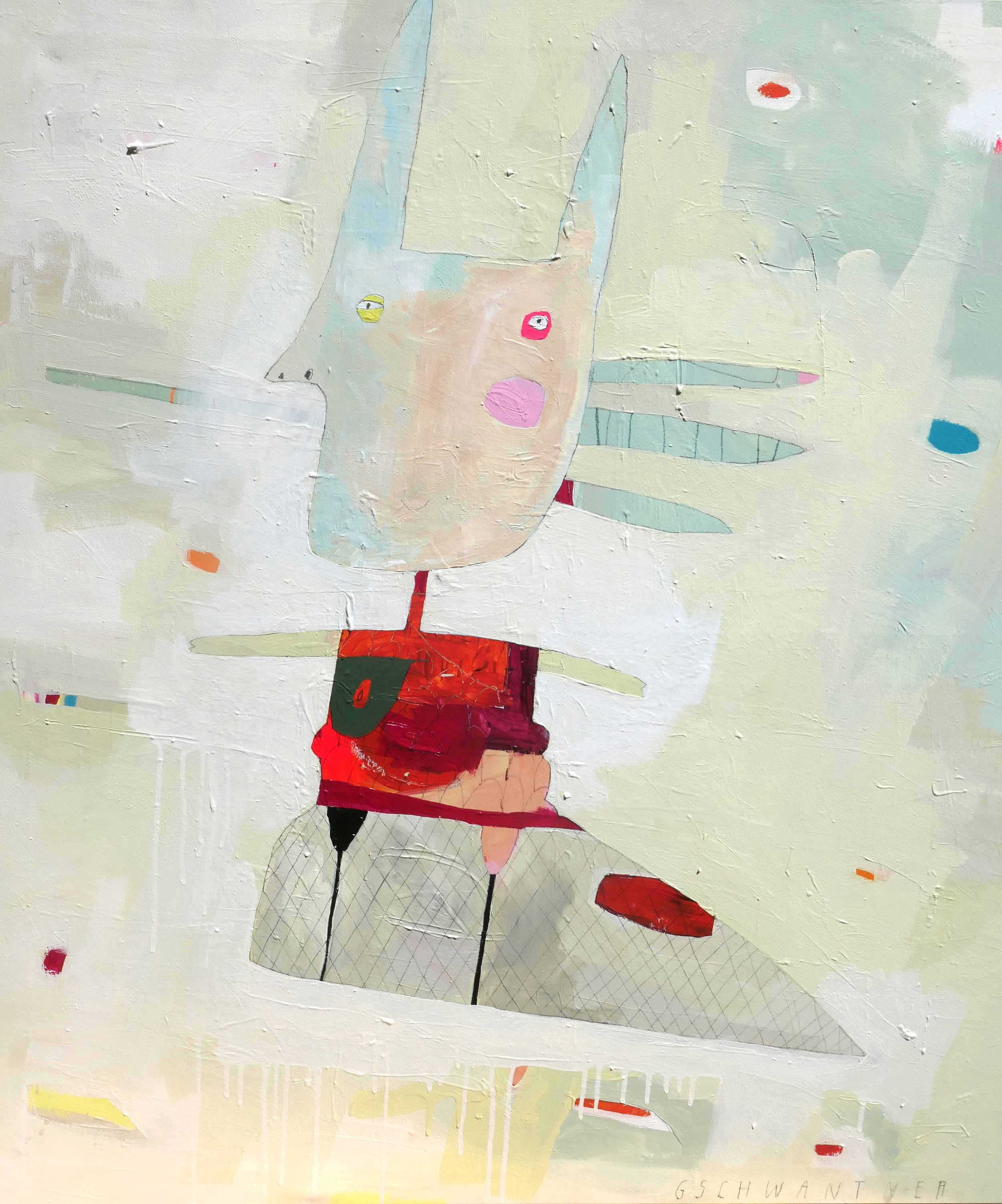 Wasserspitznasennacktschneck, 2017, Acryl auf Leinwand, 113 x 104cm, Ausrufpreis 1500,-