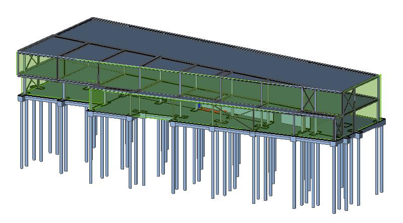 Model van loods Merelbeke in Scia Engineer