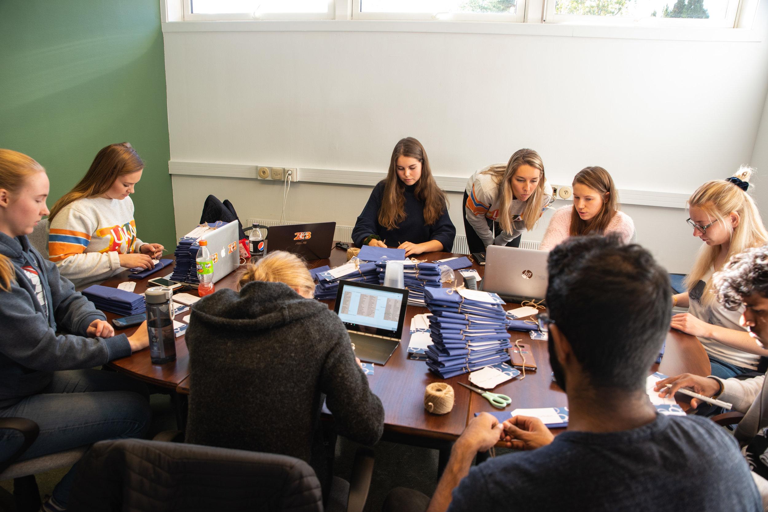 Etter mange ettermiddager og kvelder med forberedelser, planlegging og organisering er denne gjengen klar til å ta deg i mot på student- og URpremieren på UKErevyen - startskuddet for UKA i Ås 2018 . Foto: UKA i Ås.