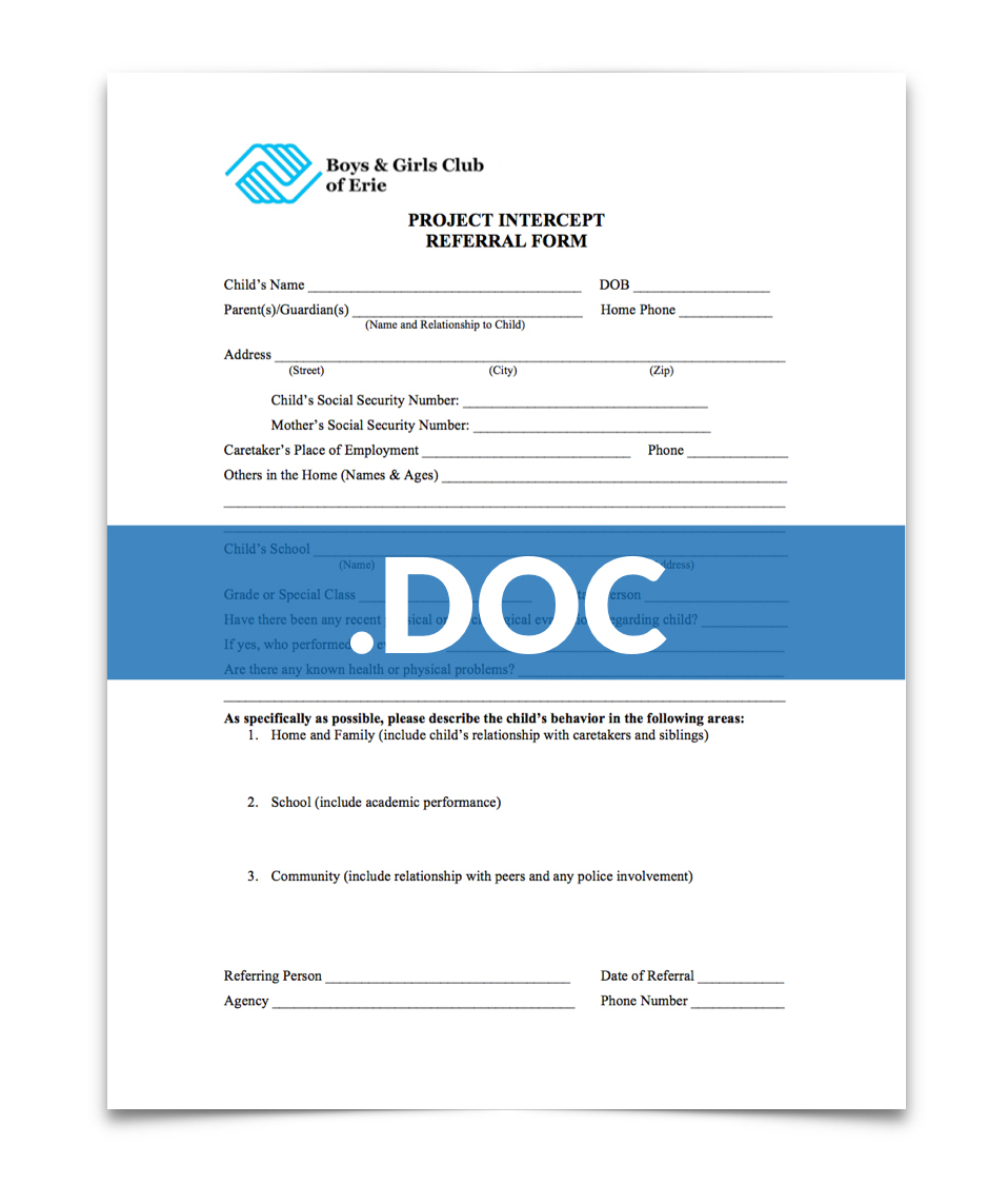 Click here to download a  Word Document  of the  Project Intercept Referral Form