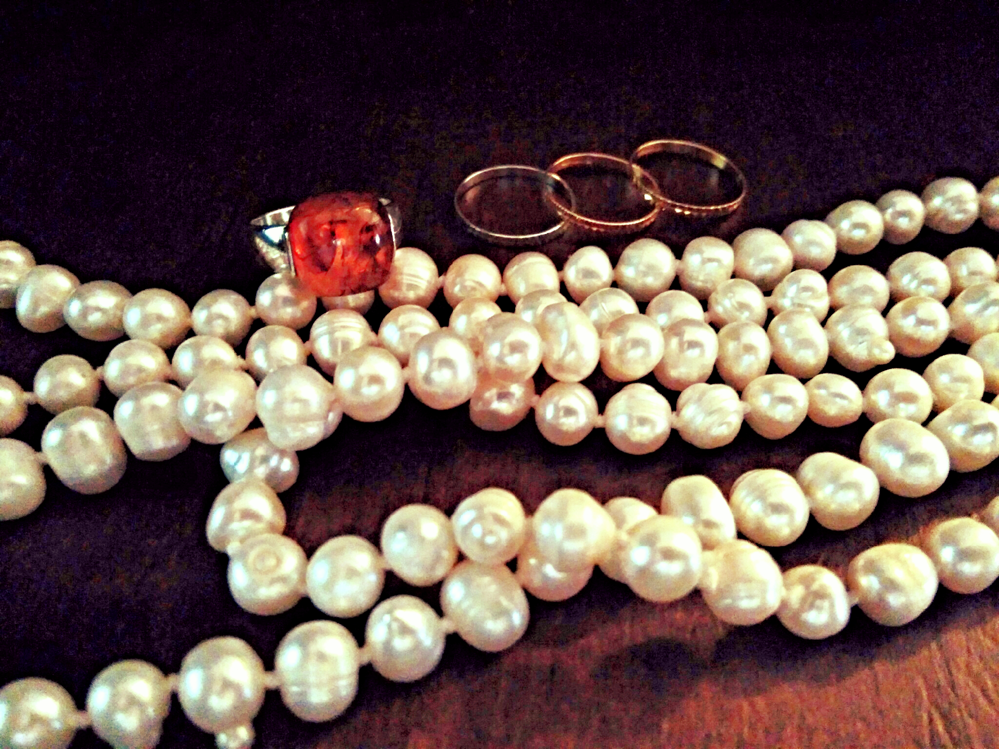 Sterling silver & Amber ring, 14k gold stack rings, and cultured pearl necklace