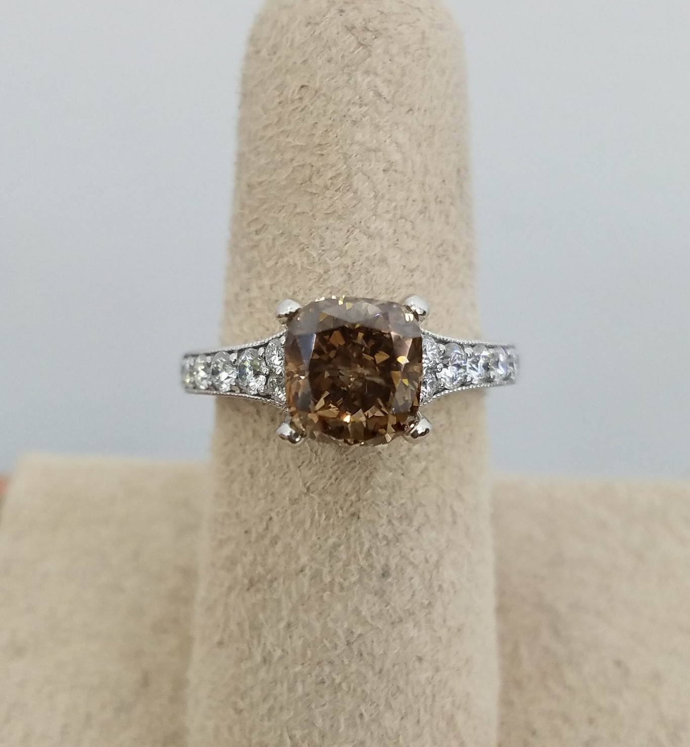 Custom Fancy brown diamond engagement ring in 18k white gold with milgrain details   by imperial jewelry company, chicago, il     http://www.imperialjewelryco.com