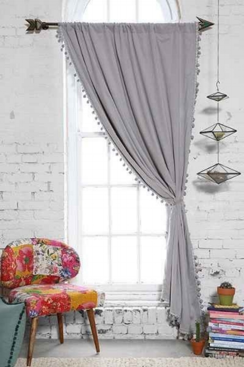 Window with open curtains
