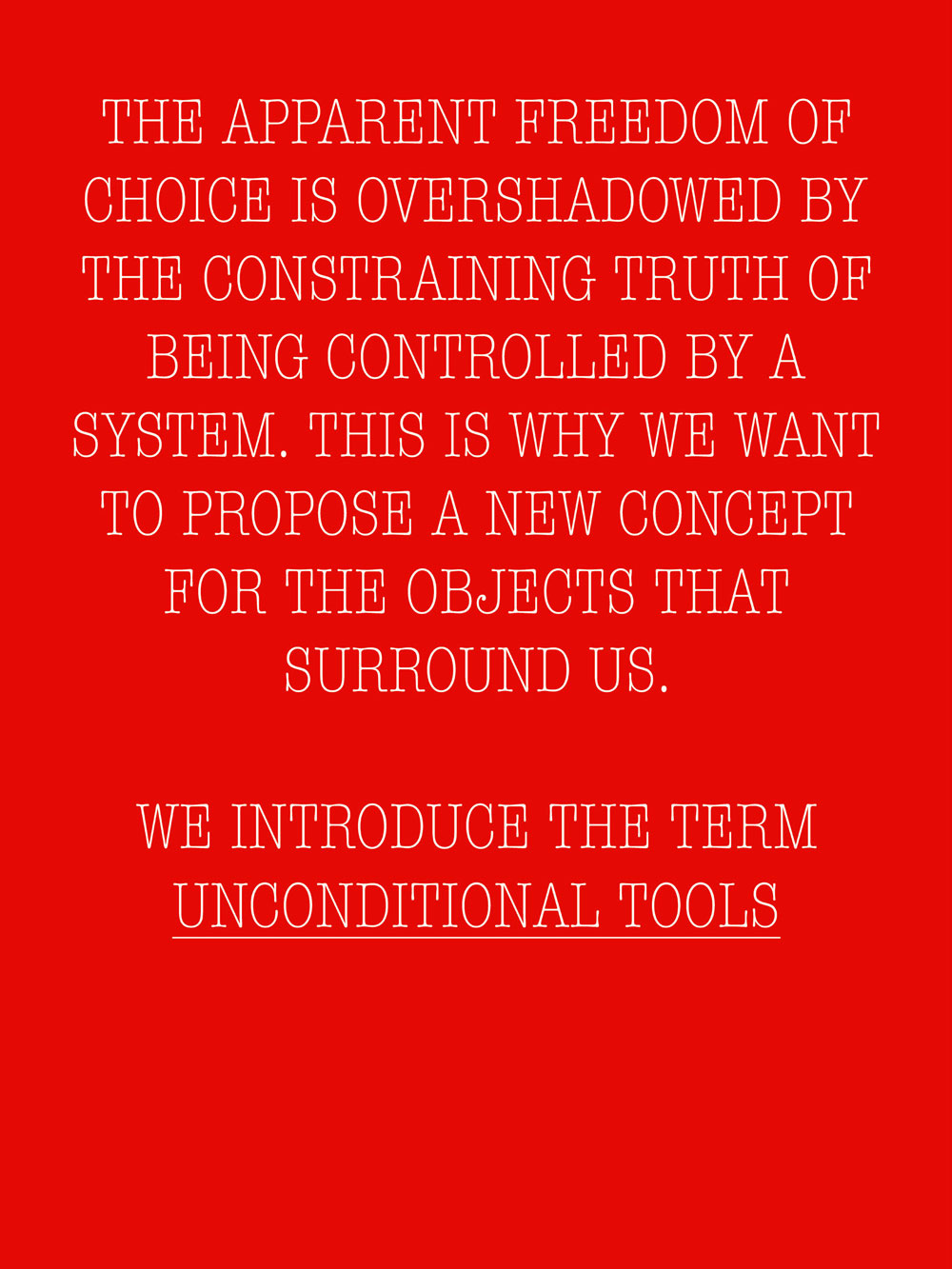 UNCONDITIONAL TOOLS